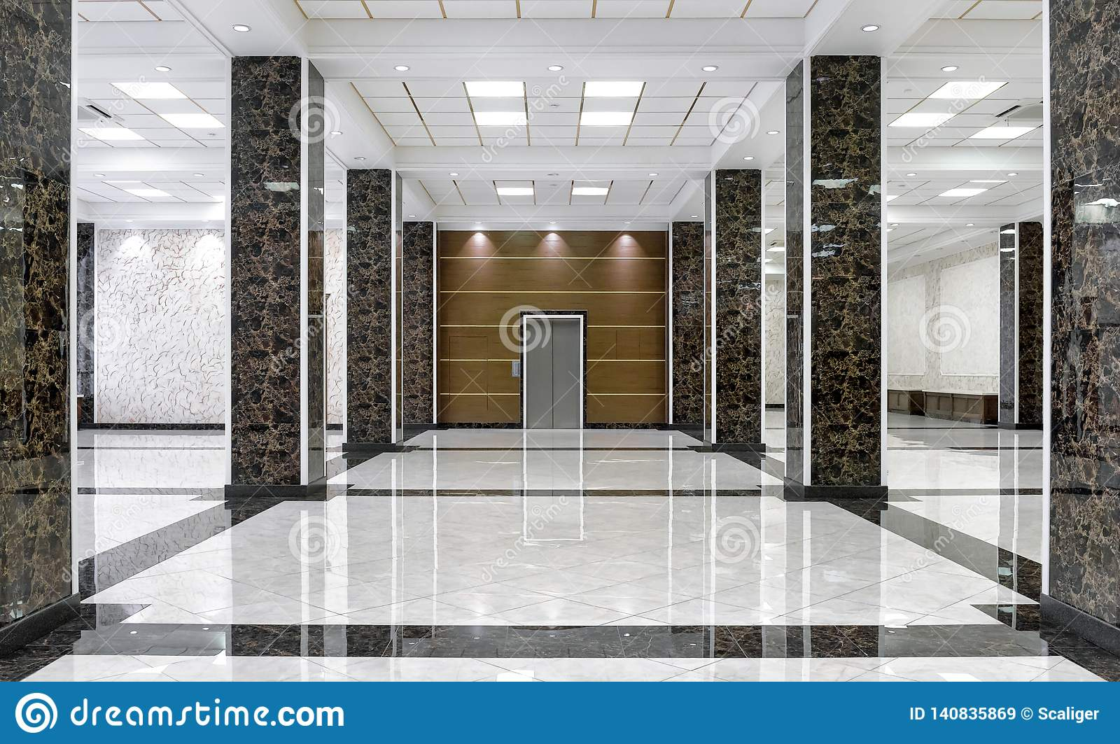 Marble Interior Of A Luxury Lobby Of Company Or Hotel Stock
