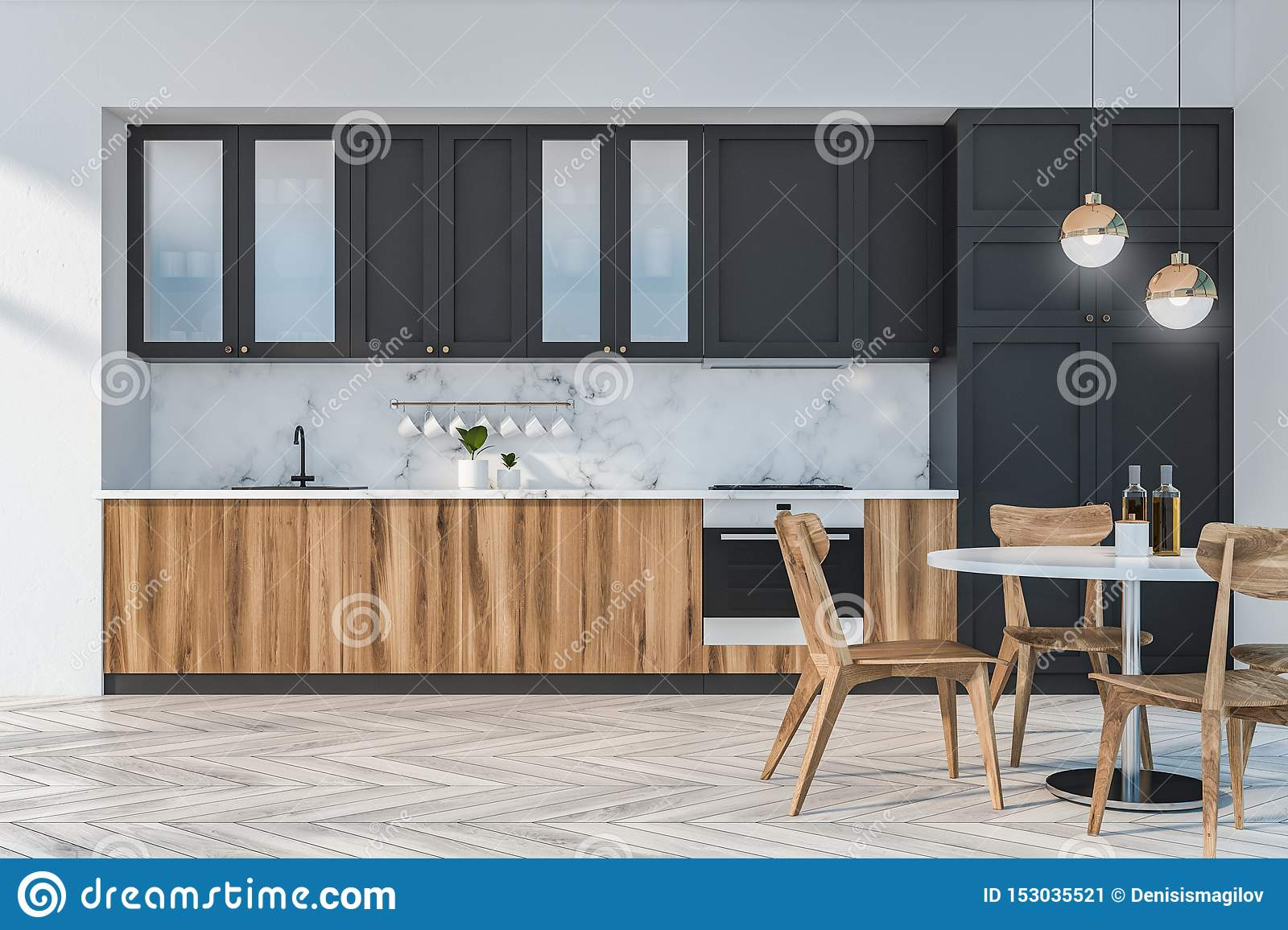 Marble Kitchen Interior With Table And Counters Stock Illustration Illustration Of Contemporary Indoor 153035521