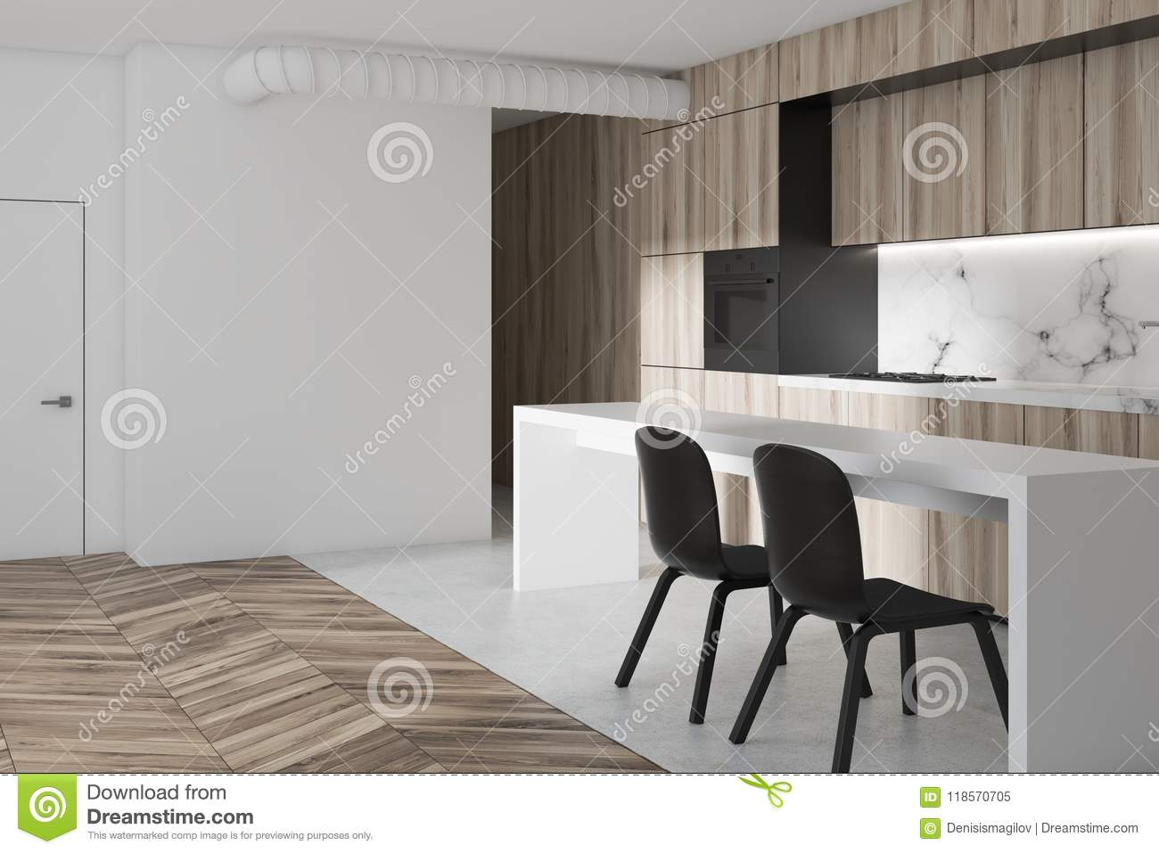 Marble And Wooden Kitchen Table Side View Stock Illustration Illustration Of Clean Inside 118570705