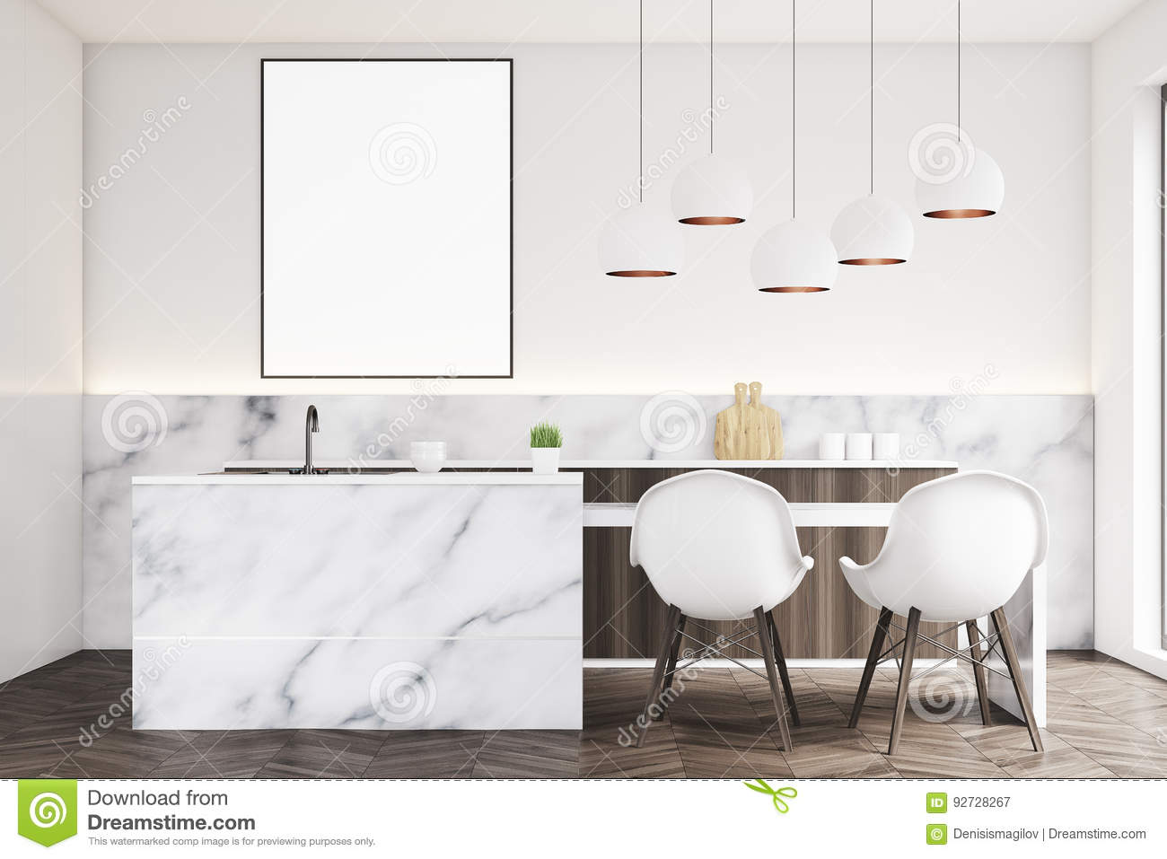 Marble Kitchen With Poster Front Stock Illustration Illustration Of Furniture Contemporary 92728267
