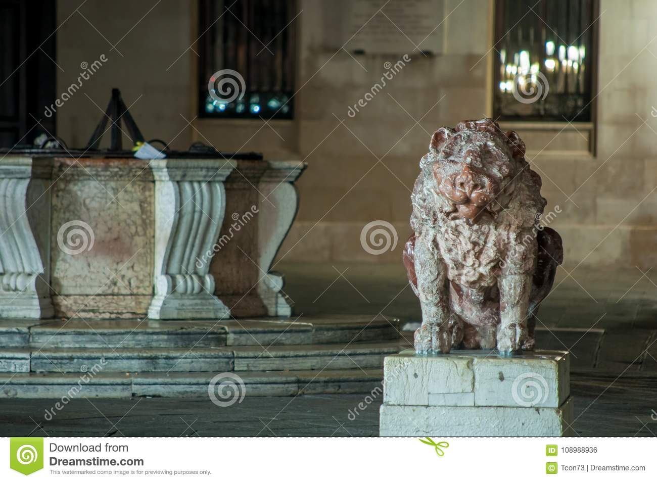 Marble lion statue and marble water well