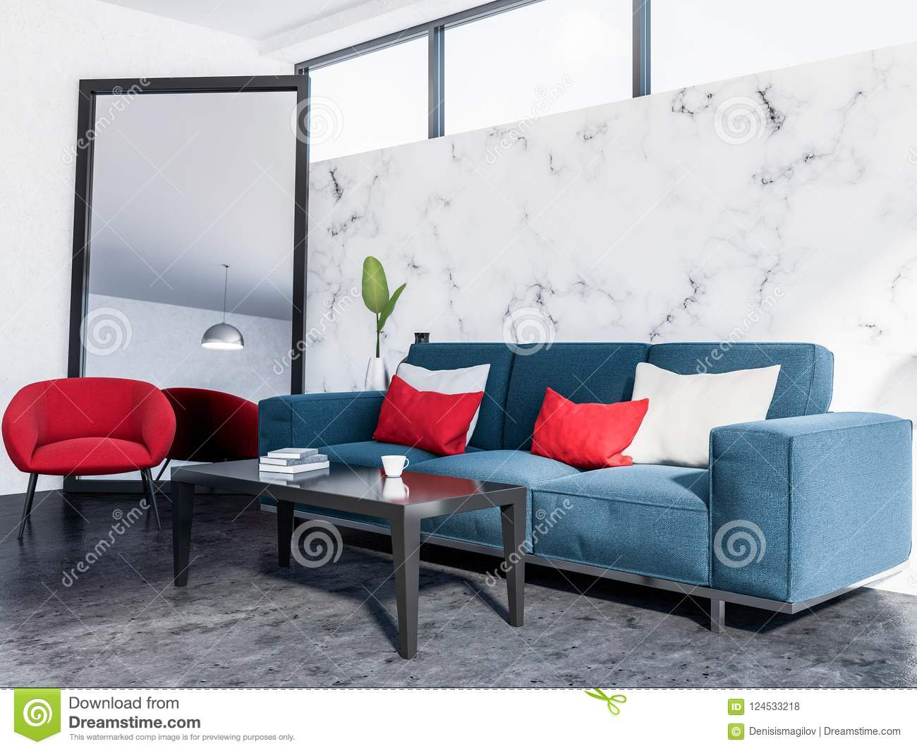 Tremendous Marble Living Room Corner Blue Sofa Red Armchair Stock Interior Design Ideas Oxytryabchikinfo