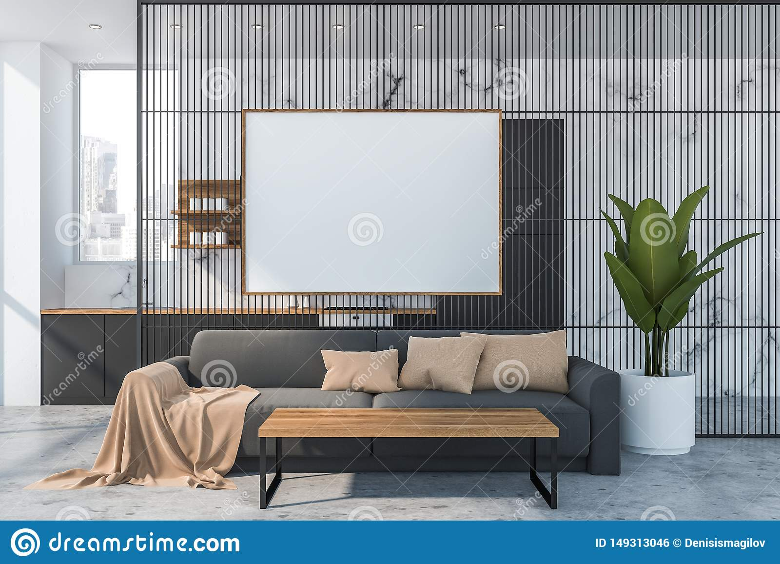 Marble Living Room And Kitchen Poster Stock Illustration Illustration Of Gray Marble 149313046