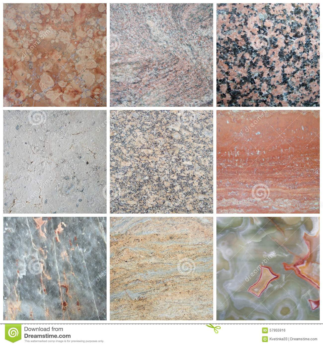 Marble Picture Collage With Different Textures. Stock Photo ...