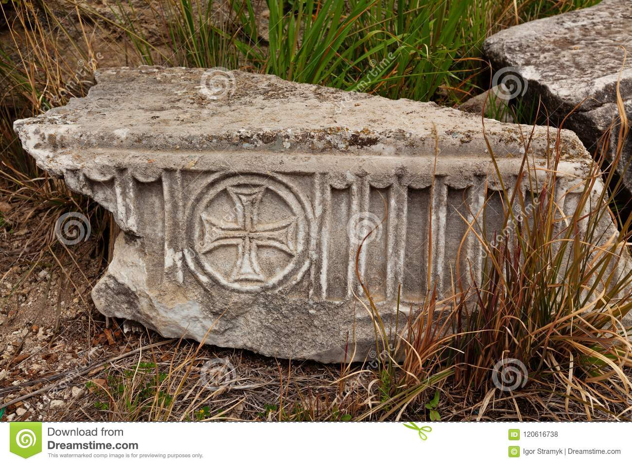 Marble Plate With Old Christian Symbols In Ancient City Hierapolis