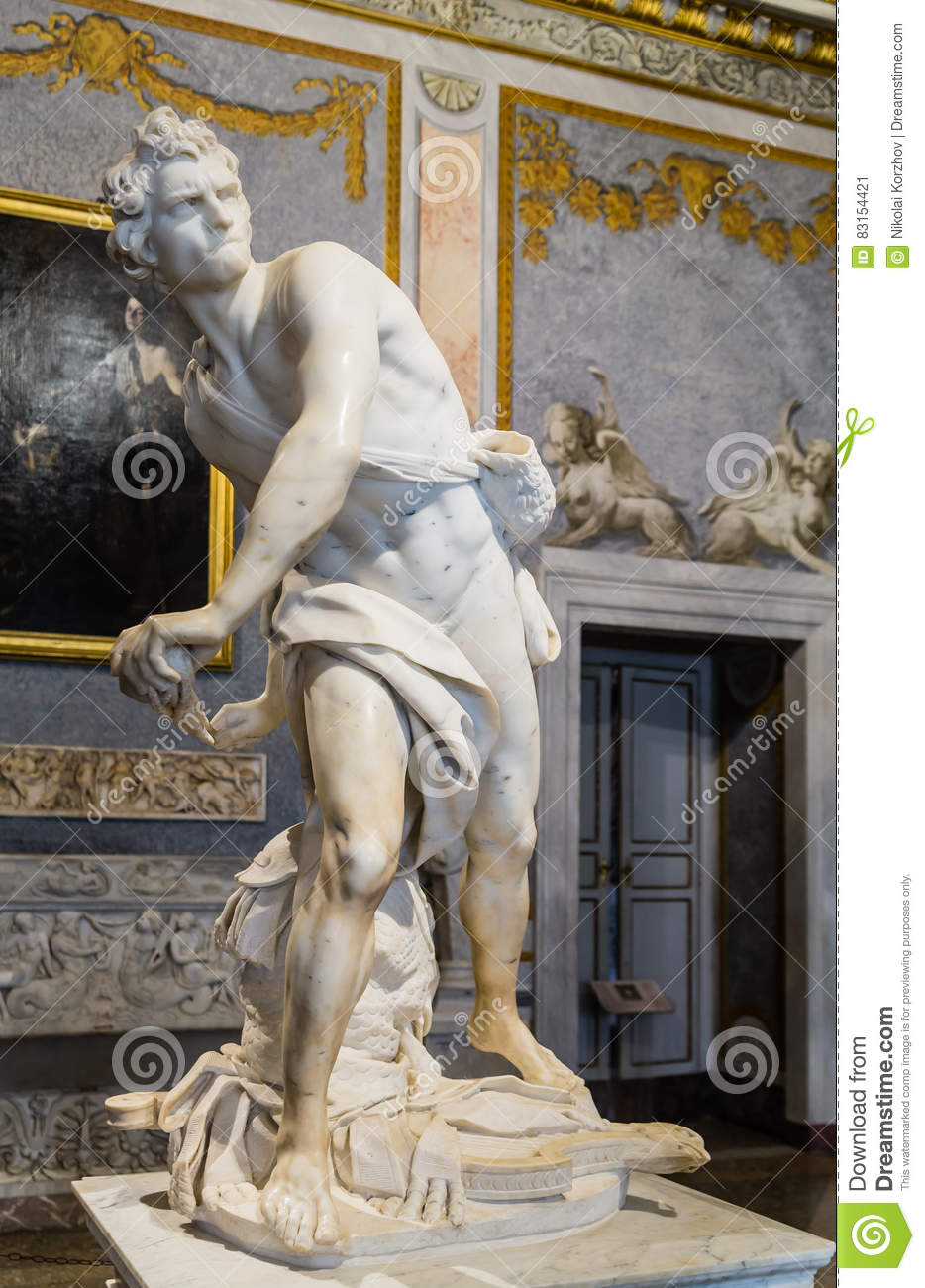 Marble sculpture David by Gian Lorenzo Bernini in Galleria Borghese, Rome