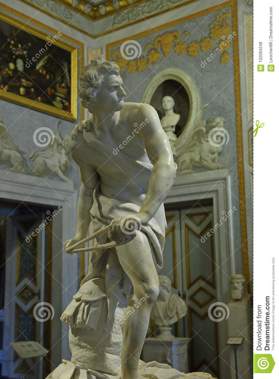 Marble sculpture David by Gian Lorenzo Bernini in Galleria Borghese