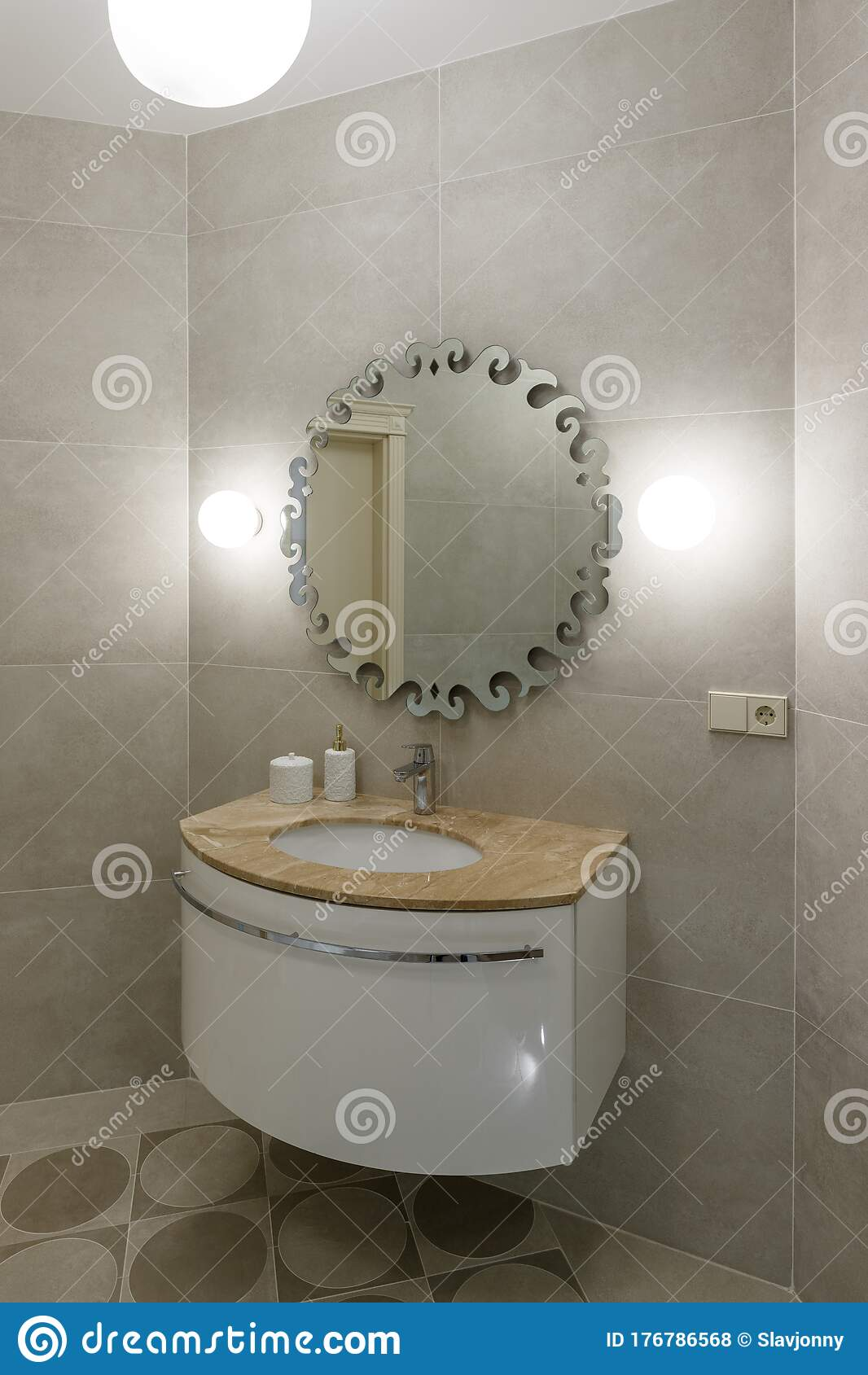 Marble Sink Chrome Faucet Large Mirror And Bathroom Accessories Modern Bathroom Design Stock Photo Image Of Decoration Decor 176786568