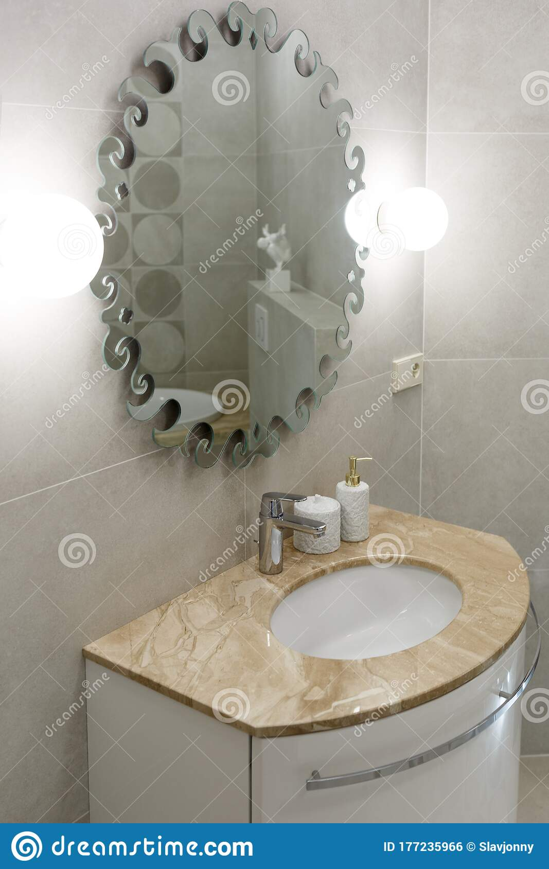 Marble Sink Chrome Faucet Large Mirror And Bathroom Accessories Modern Bathroom Design Stock Photo Image Of Interior Decor 177235966