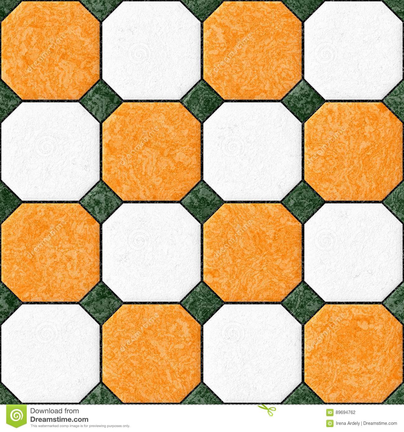 Marble Square Floor Tiles With Green Rhombs Seamless