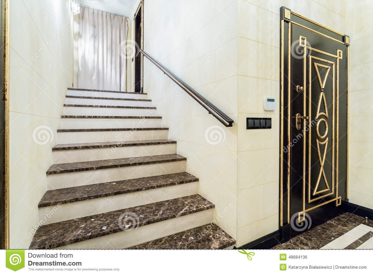 Marble Staircase Inside Baroque Interior Stock Photo