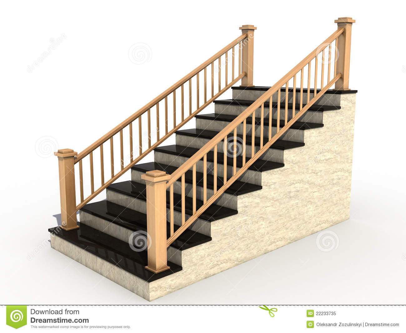 Marble Staircase With Wooden Handrail №3 Royalty Free