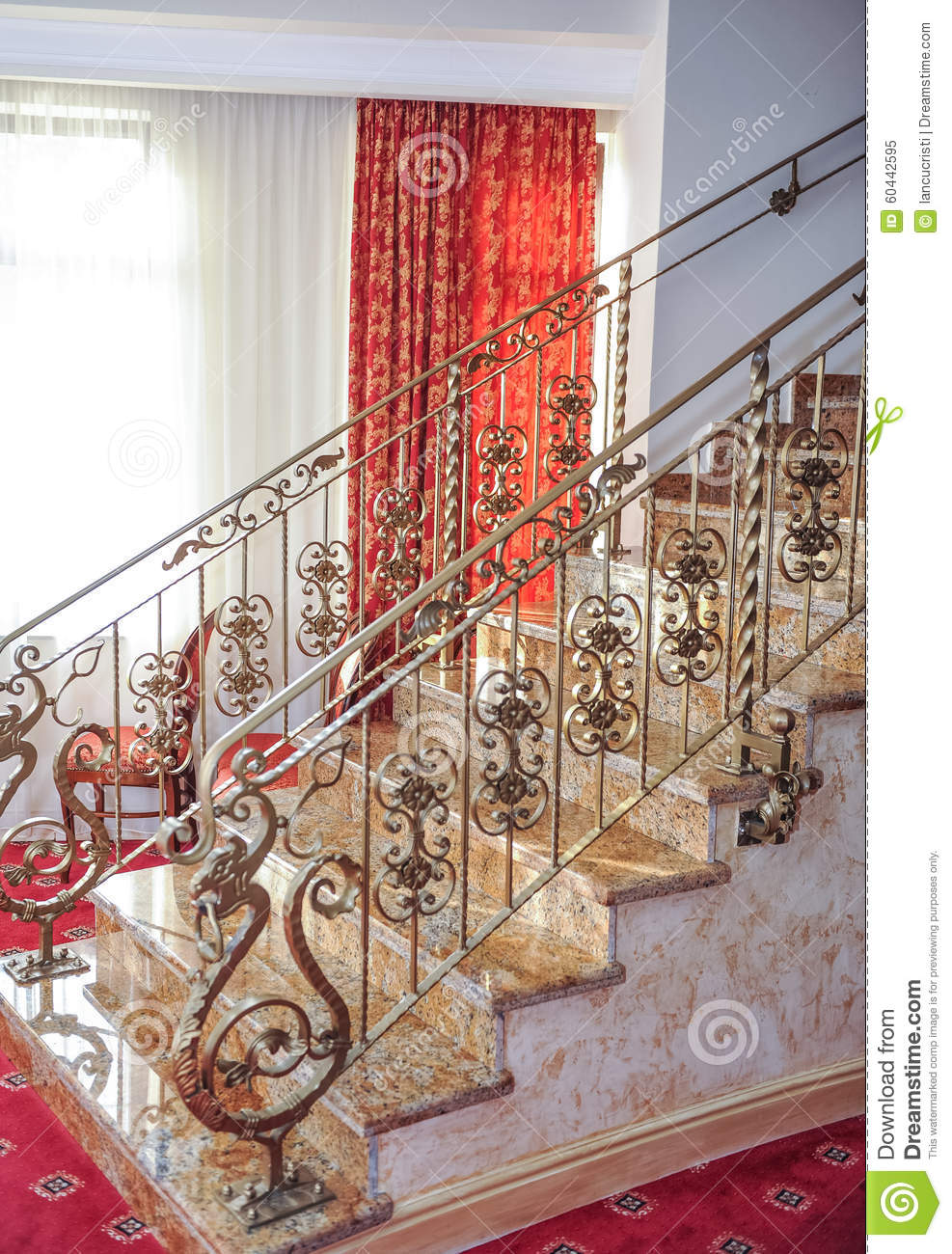 Marble Stairs With Golden Metal Handle Leading Up. Luxurious Stairs With  Red Curtains On Background