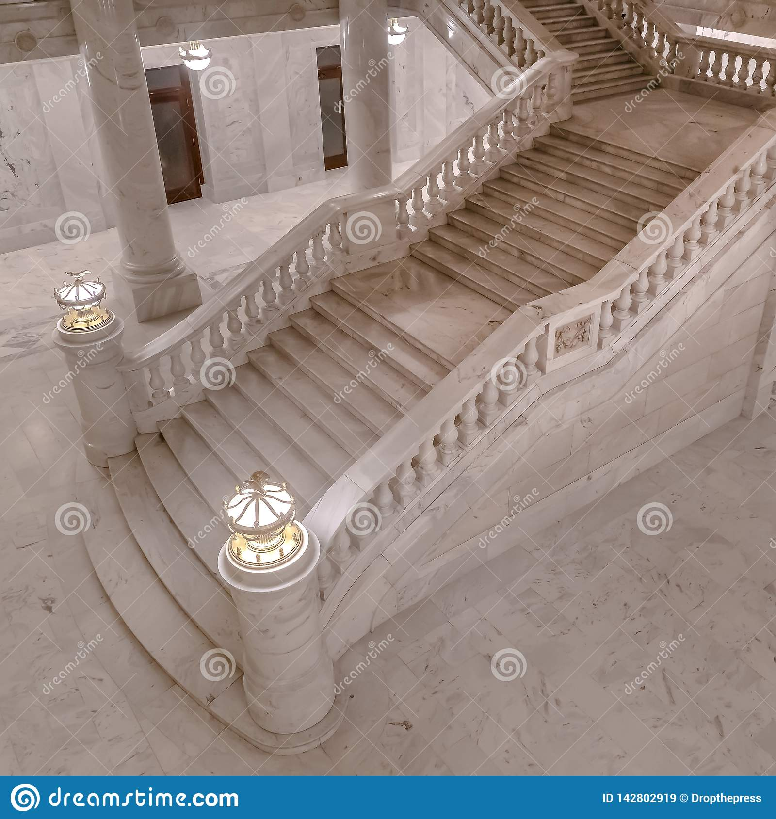 Marble Stairs Inside Utah State Capital Building Stock Image