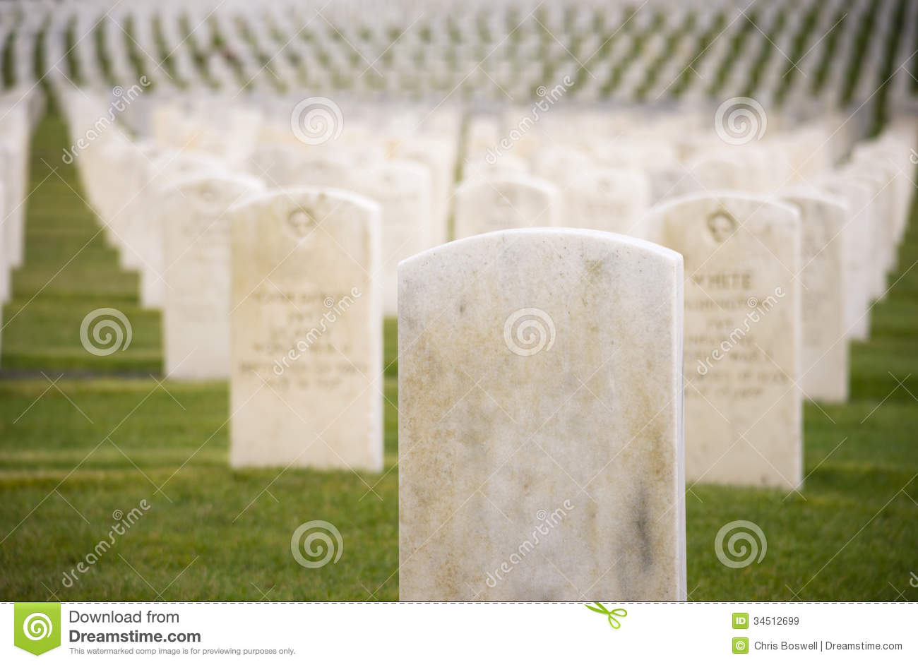 Marble Stone Military Headstones Hundreds Row Graveyard