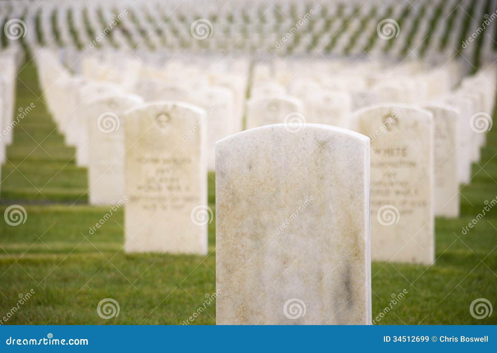 Marble Stone Military Headstones Hundreds Row Graveyard