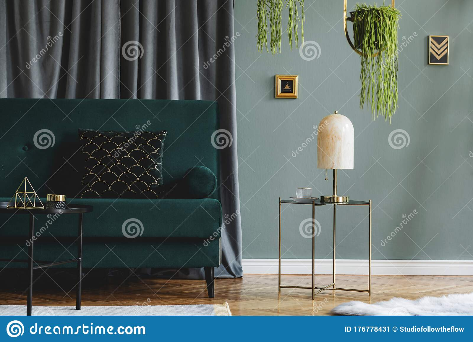 Marble Table Lamp In Stylish And Luxury Living Room Stock Image Image Of Living Apartment 176778431