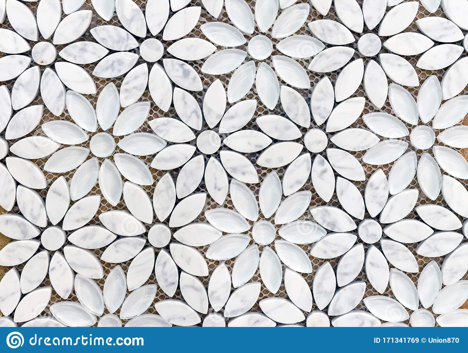 Marble Tiles Mosaic In The Shape Of Flowers Background Of White Marble Flowers Stock Image Image Of Floor Pattern 171341769