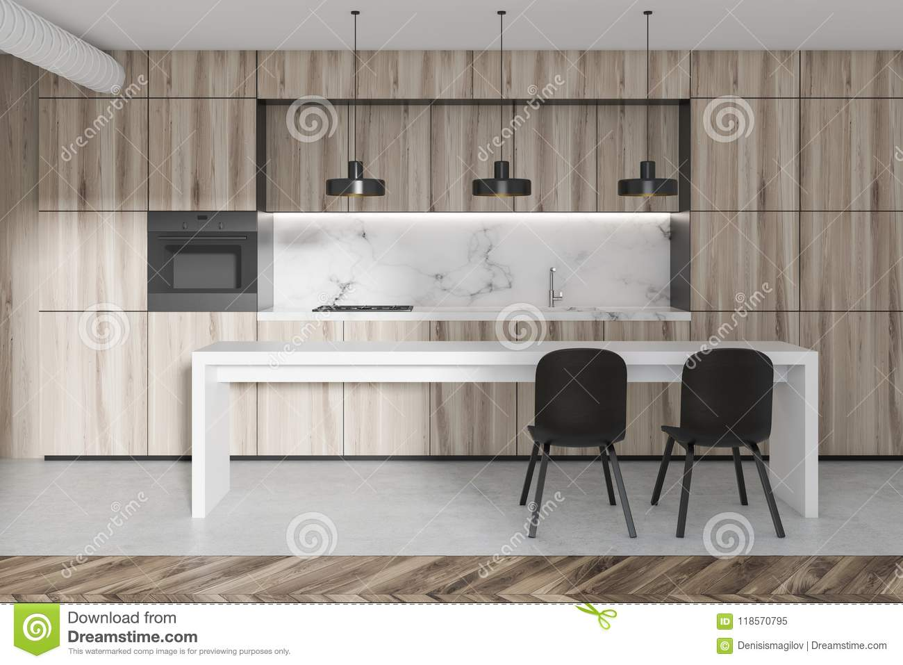 Marble And Wooden Kitchen, Table Stock Image - Image of ...