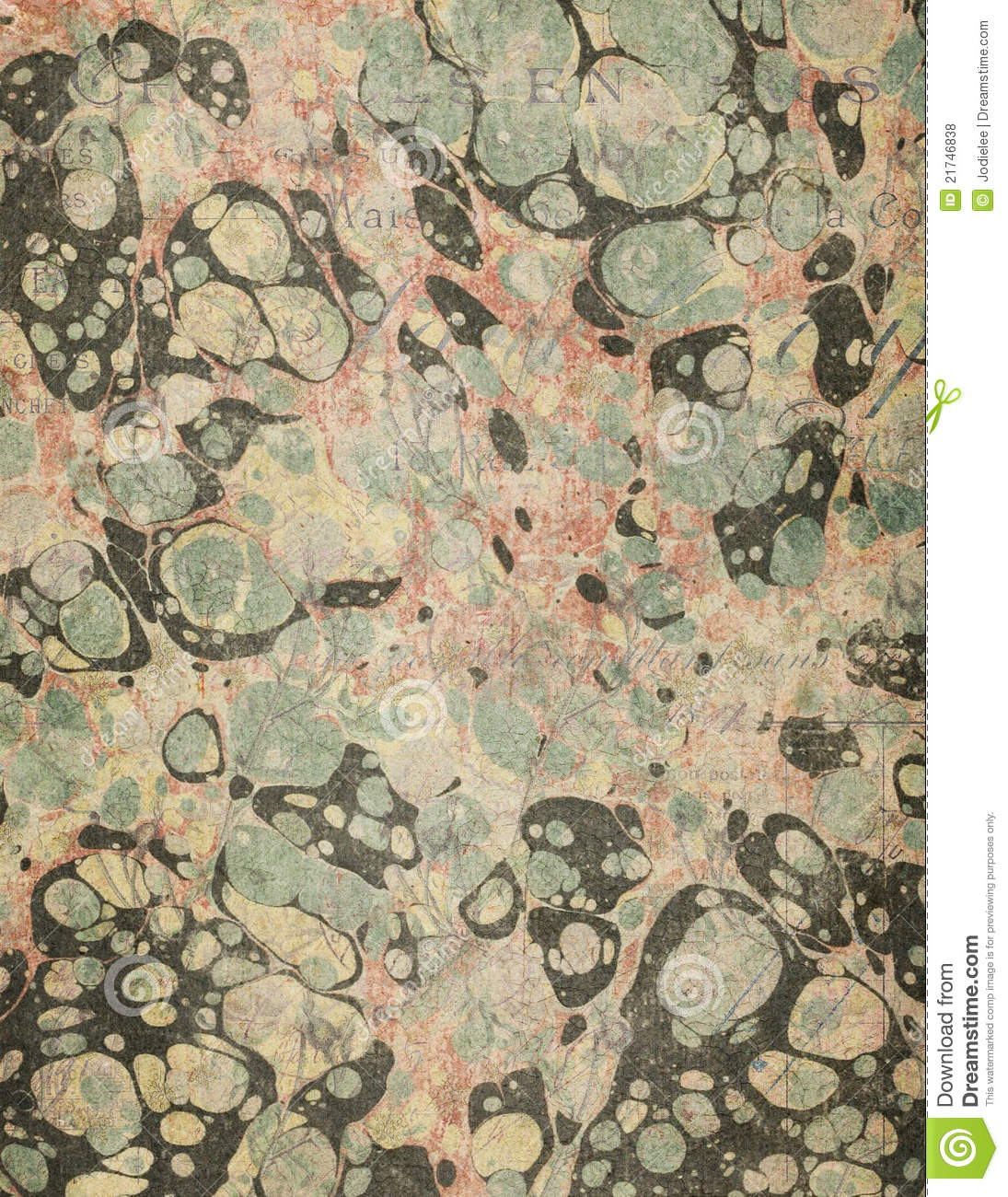 Marbled Antique Book End Paper Texture Stock Photo Image