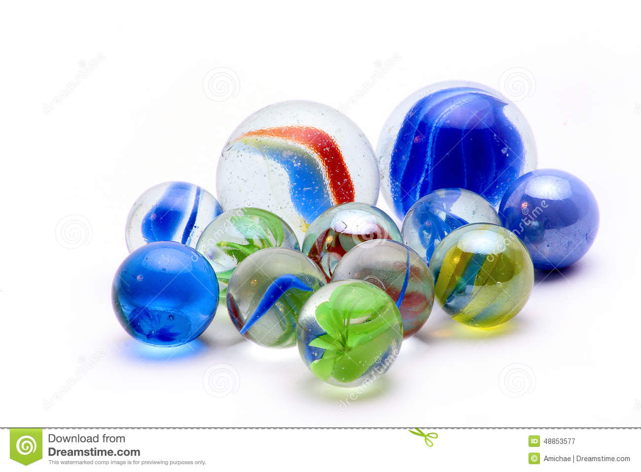 Marbles with blue