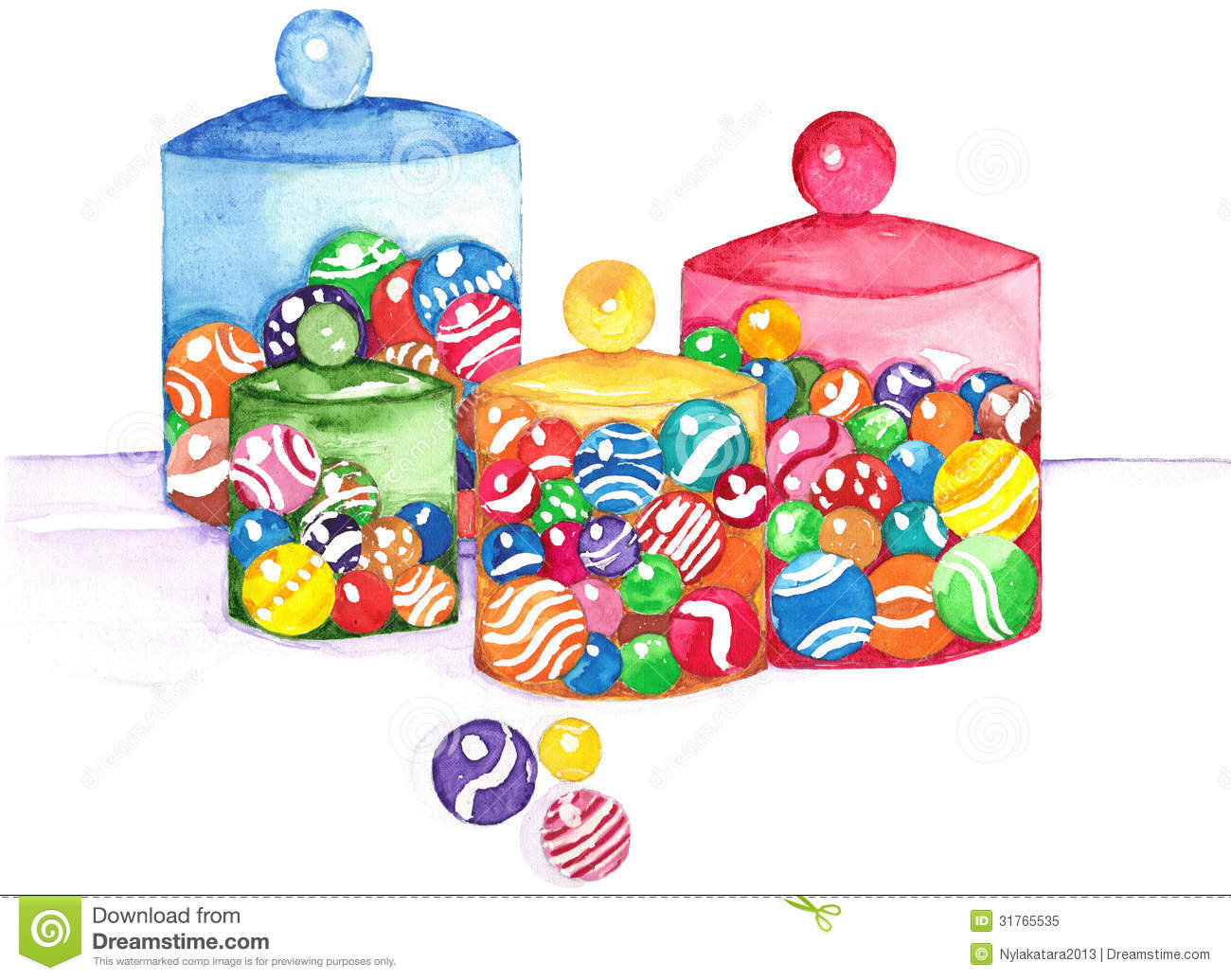 Bright Colored Marbles : Marbles in jars watercolor stock illustration