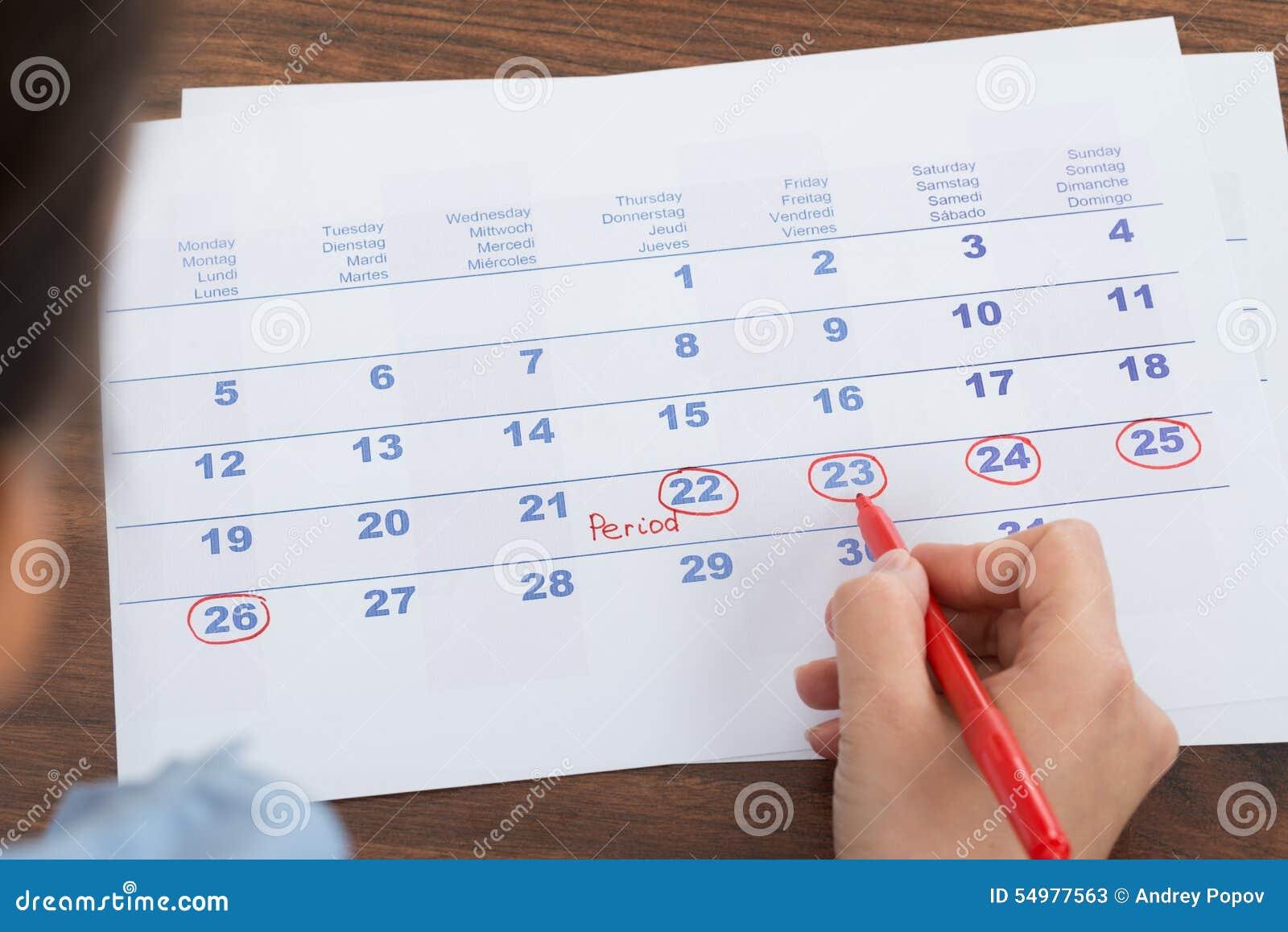 Marca Calendario.Marca De La Persona En Calendario Imagen De Archivo Imagen De
