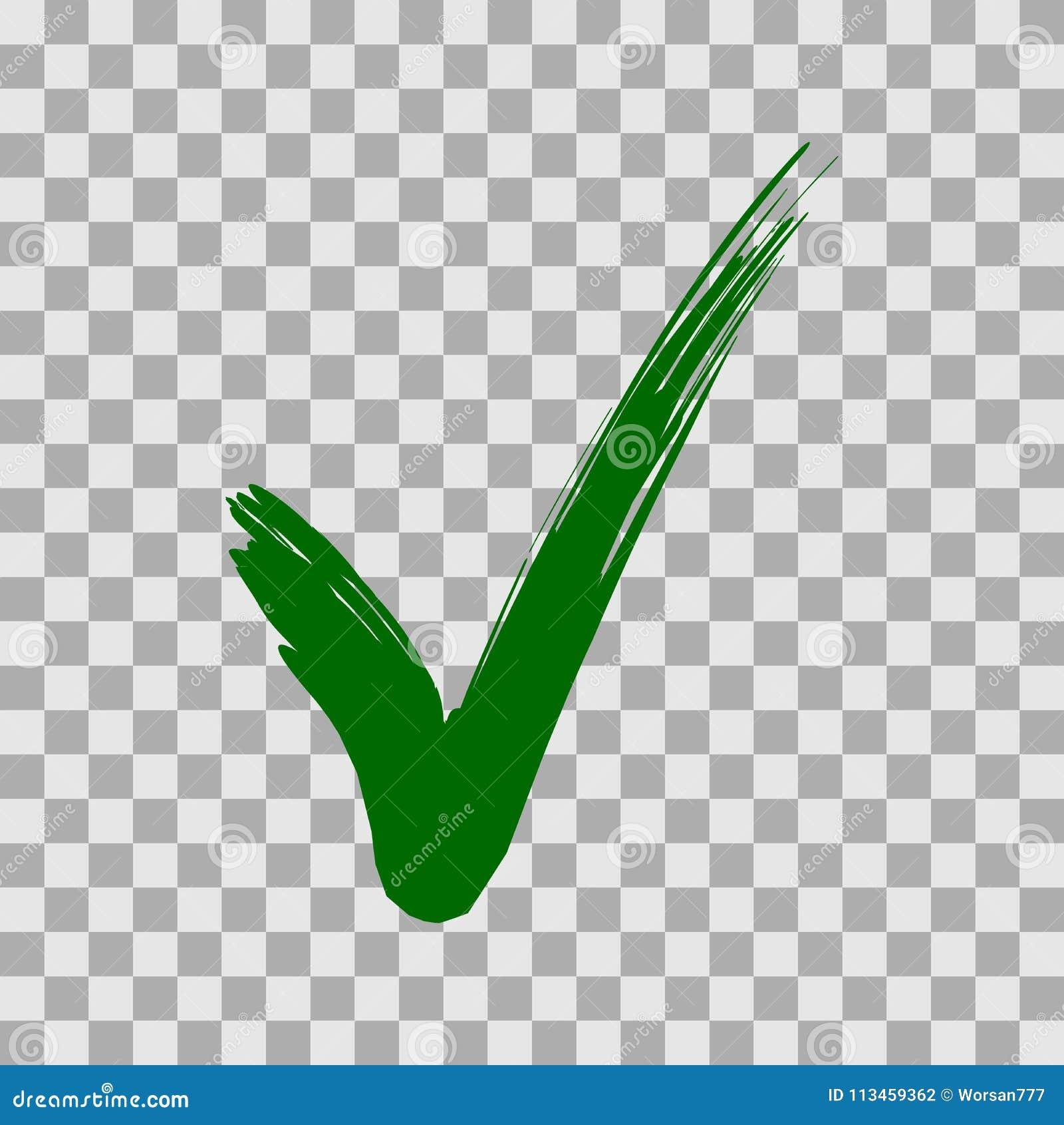 Marca de verificación verde aislada en fondo transparente