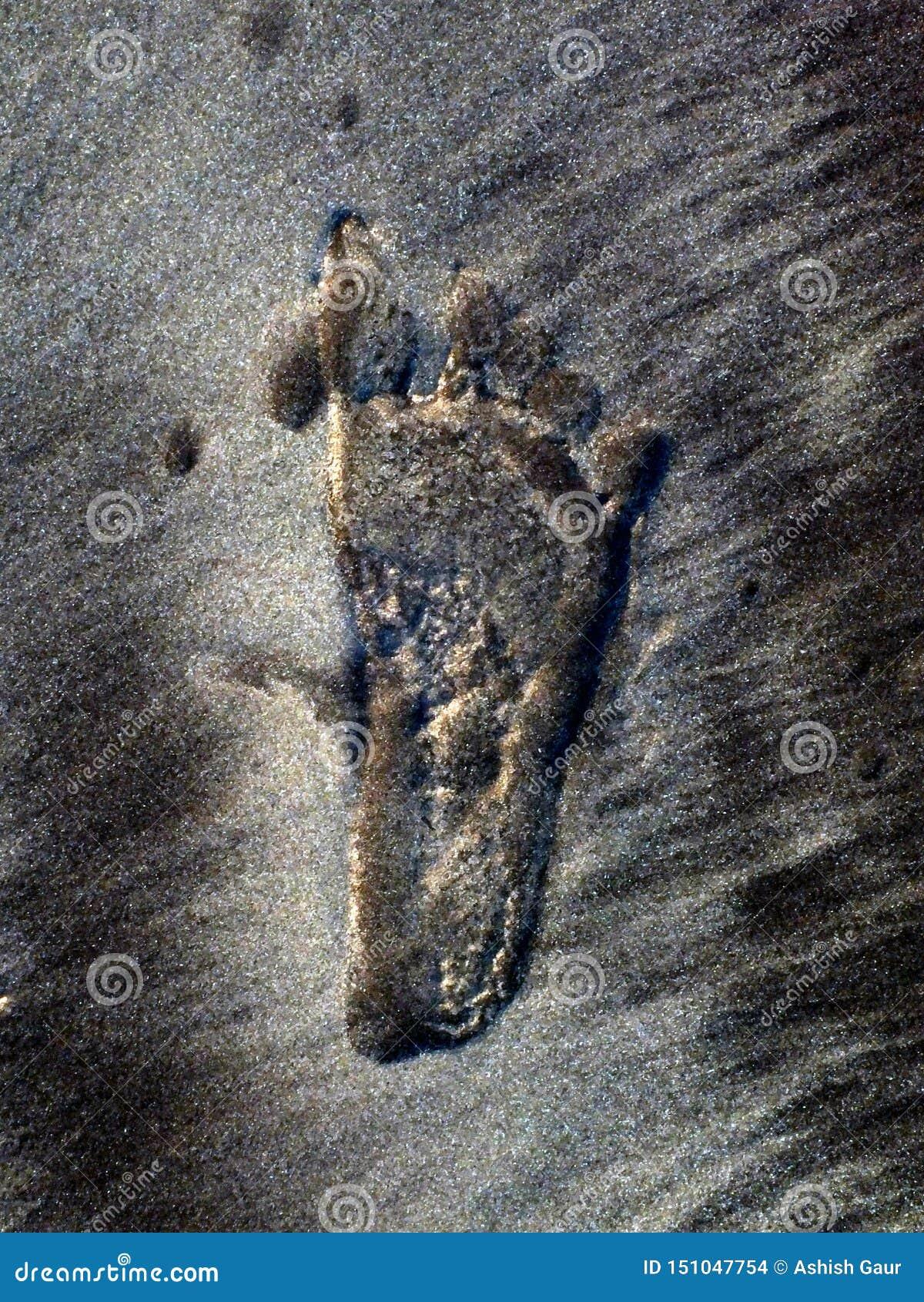Marca del pie del niño en la arena de la playa del mar