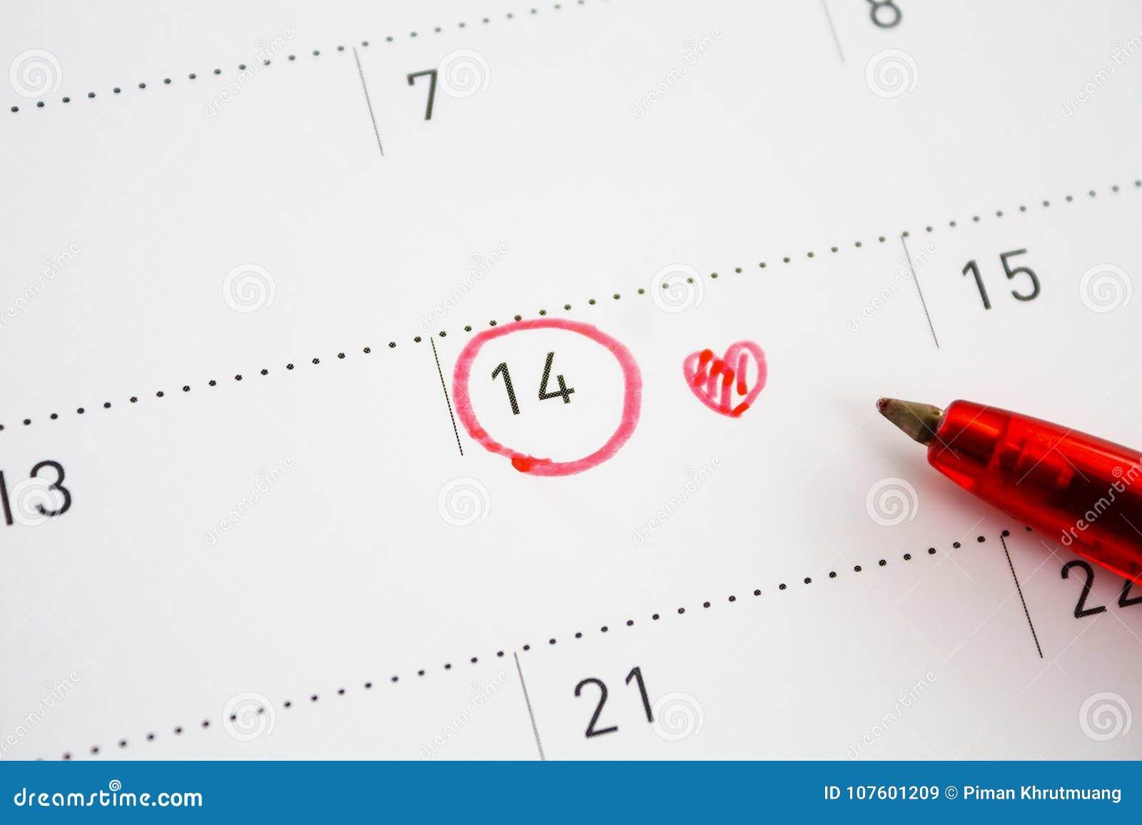 Marca Calendario.Marca Do Dia Do S Do Valentim No Calendario Imagem De Stock