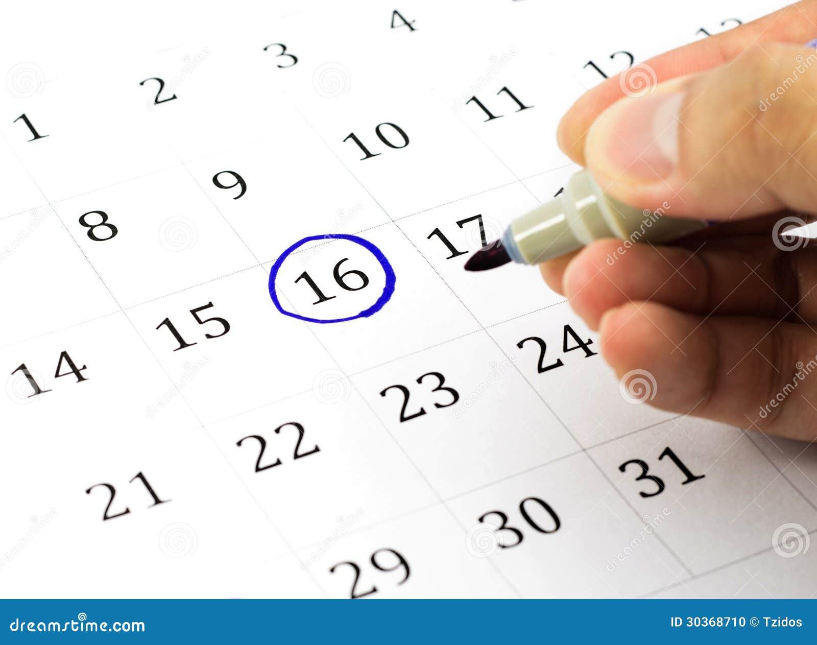 Marca Calendario.Marca En El Calendario En 16 Foto De Archivo Imagen De Cita