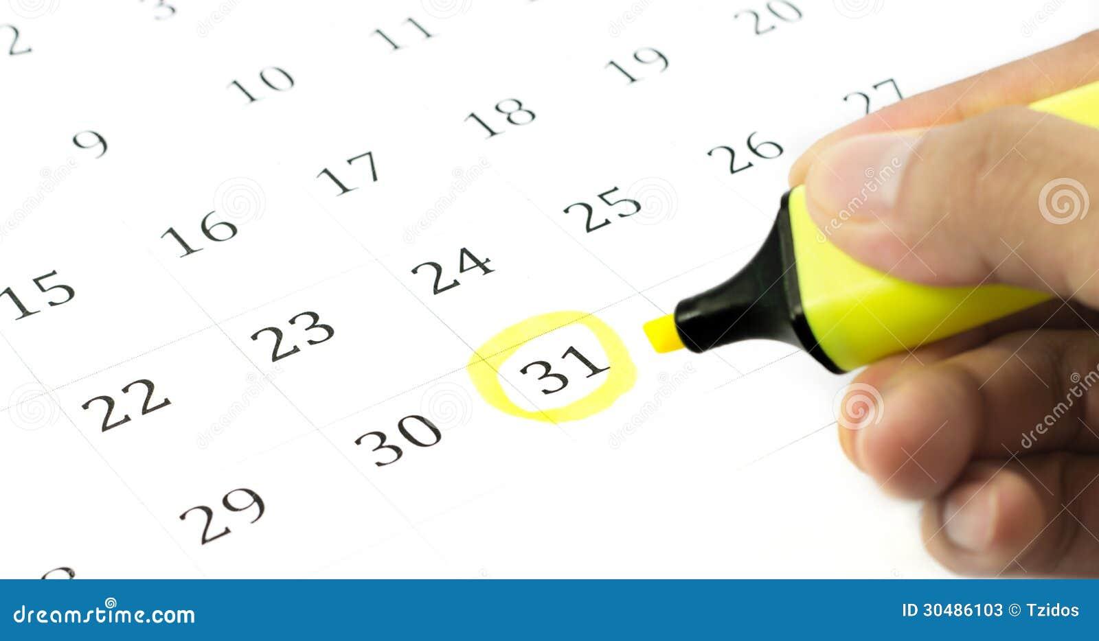 Marca Calendario.Marca En El Calendario En 31 Imagen De Archivo Imagen De Agenda
