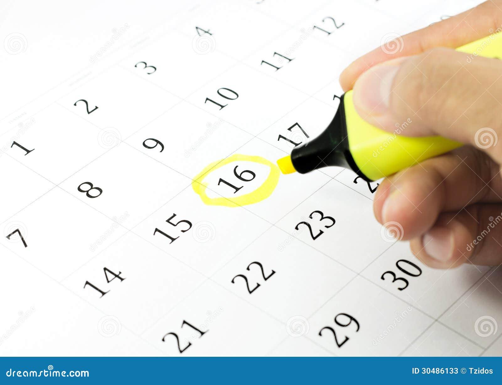 Marca Calendario.Marca En El Calendario En 16 Imagen De Archivo Imagen De Moderno