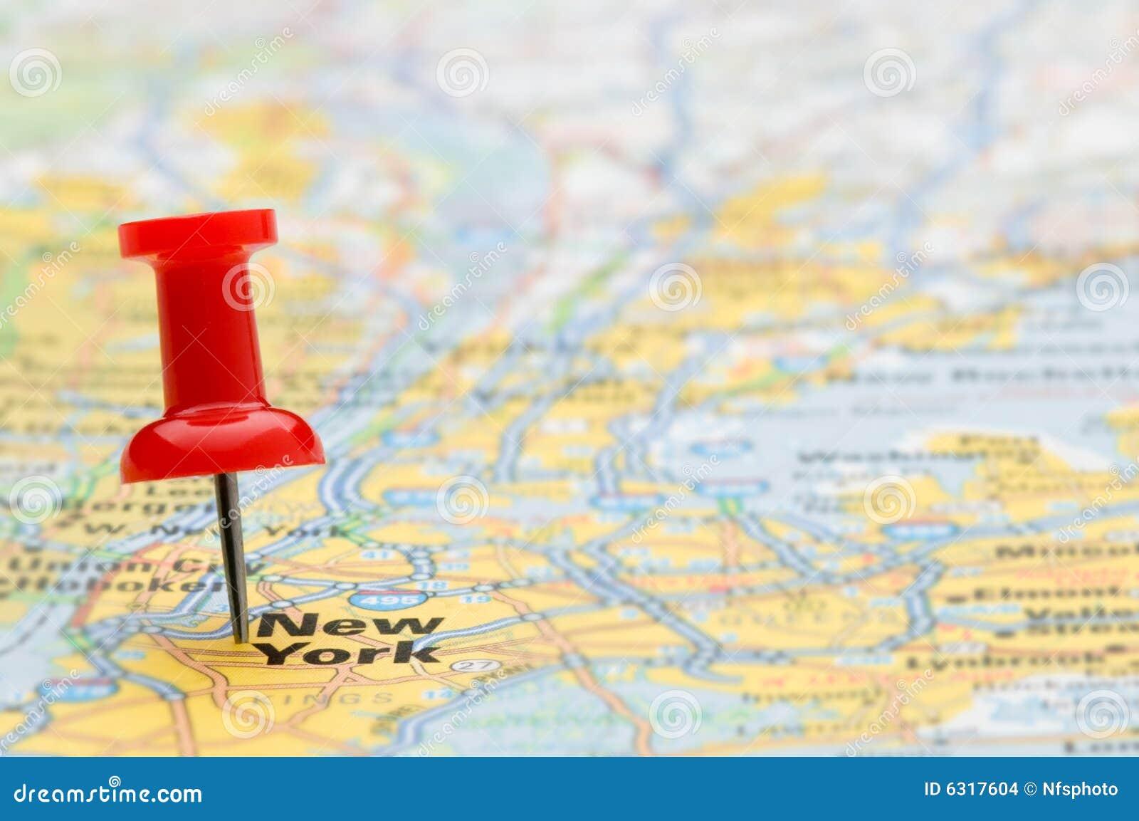 Pasador Ubicación Mapa Gráficos Vectoriales Gratis En: Marca Roja New York City Del Pasador En Correspondencia