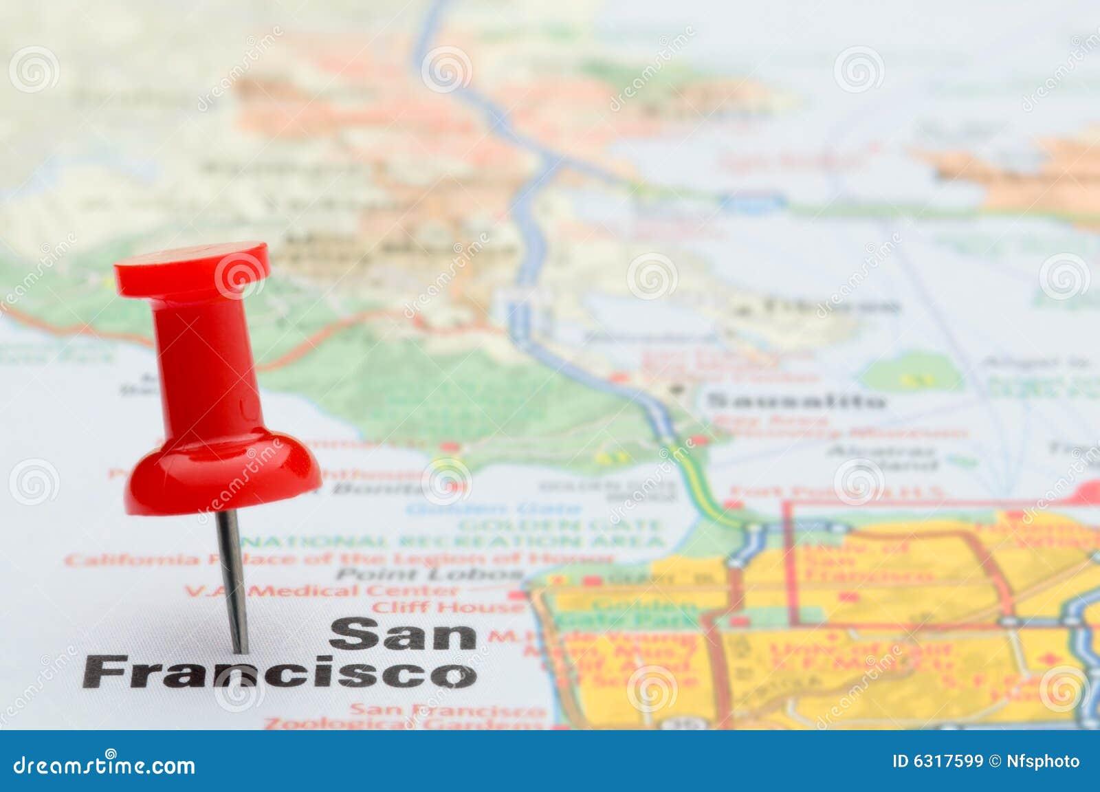 Pasador Ubicación Mapa Gráficos Vectoriales Gratis En: Marca Roja San Francisco Del Pasador En Correspondencia