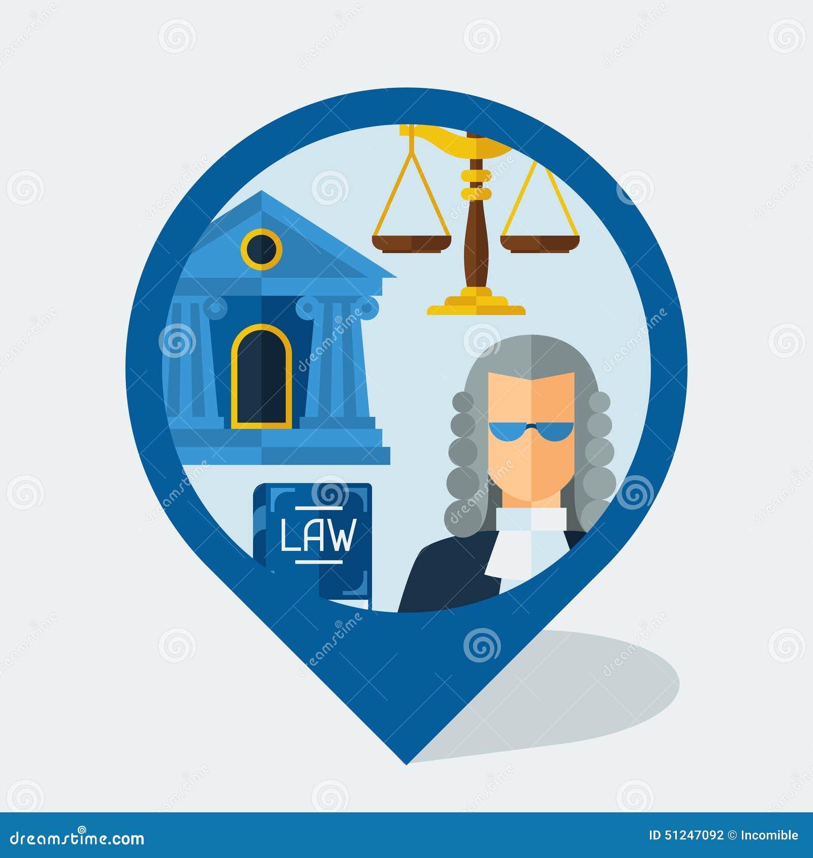 Marcador de la navegación con los iconos de la ley en diseño plano