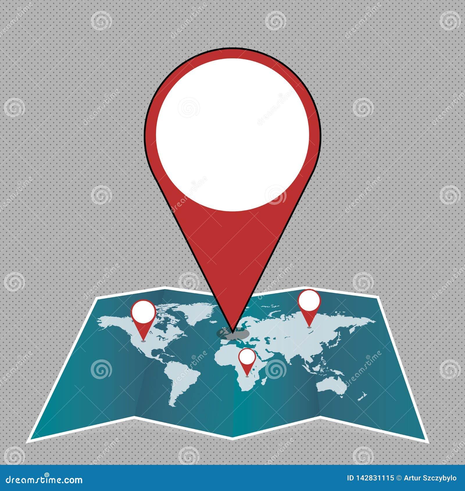 Marcador enorme colorido Pin Pointing do lugar a uma área ou endereço no mapa Ideia criativa do fundo para a entrega, transporte