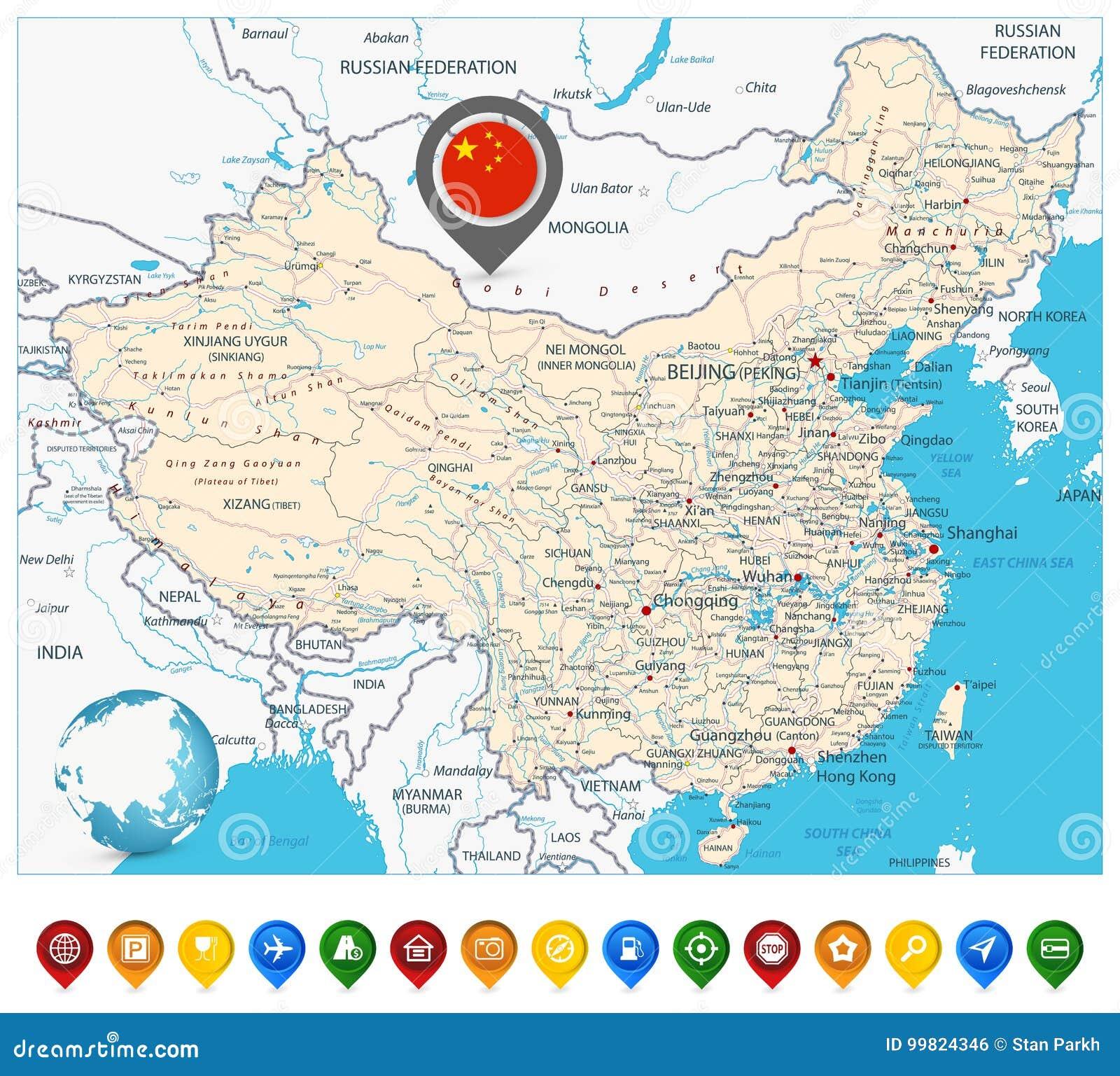 Marcadores do mapa de estradas e do mapa de China