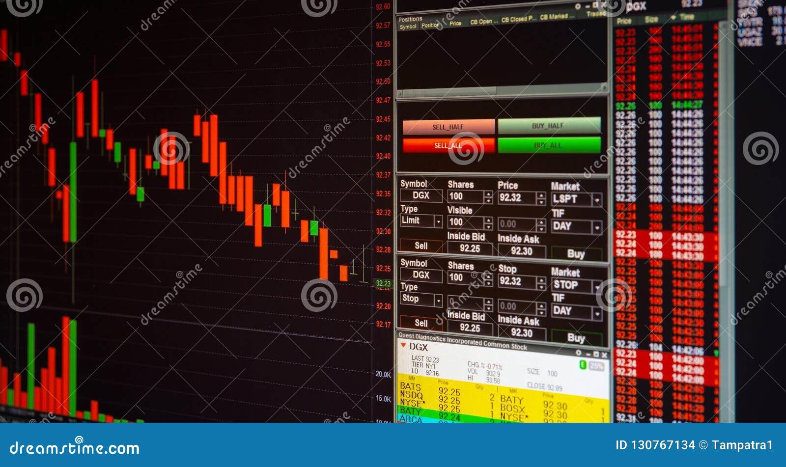 Marché boursier ou graphique et diagramme marchands de forex pour l aileron de technologie
