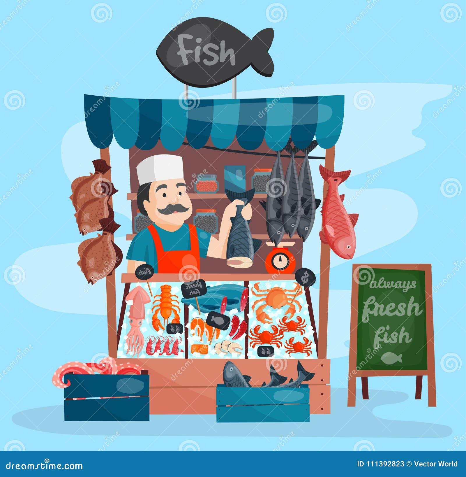 Marché de magasin de boutique de rue de kiosque de vecteur de boutique de poissons rétro avec des fruits de mer de fraîcheur dans