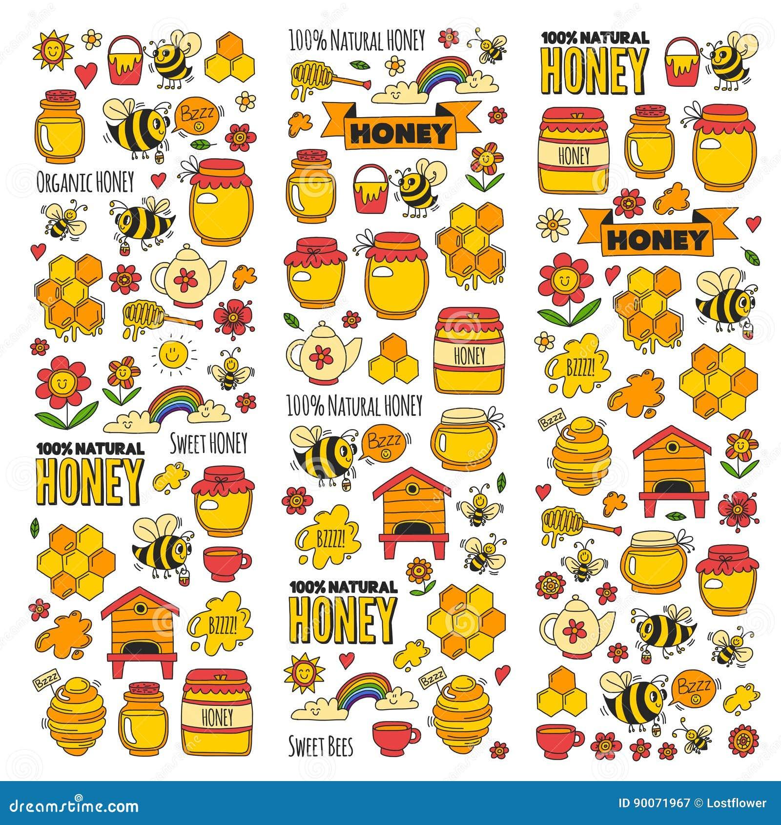 Marché de miel, bazar, images justes de griffonnage de miel des abeilles, fleurs, pots, nid d abeilles, ruche, tache, le barillet