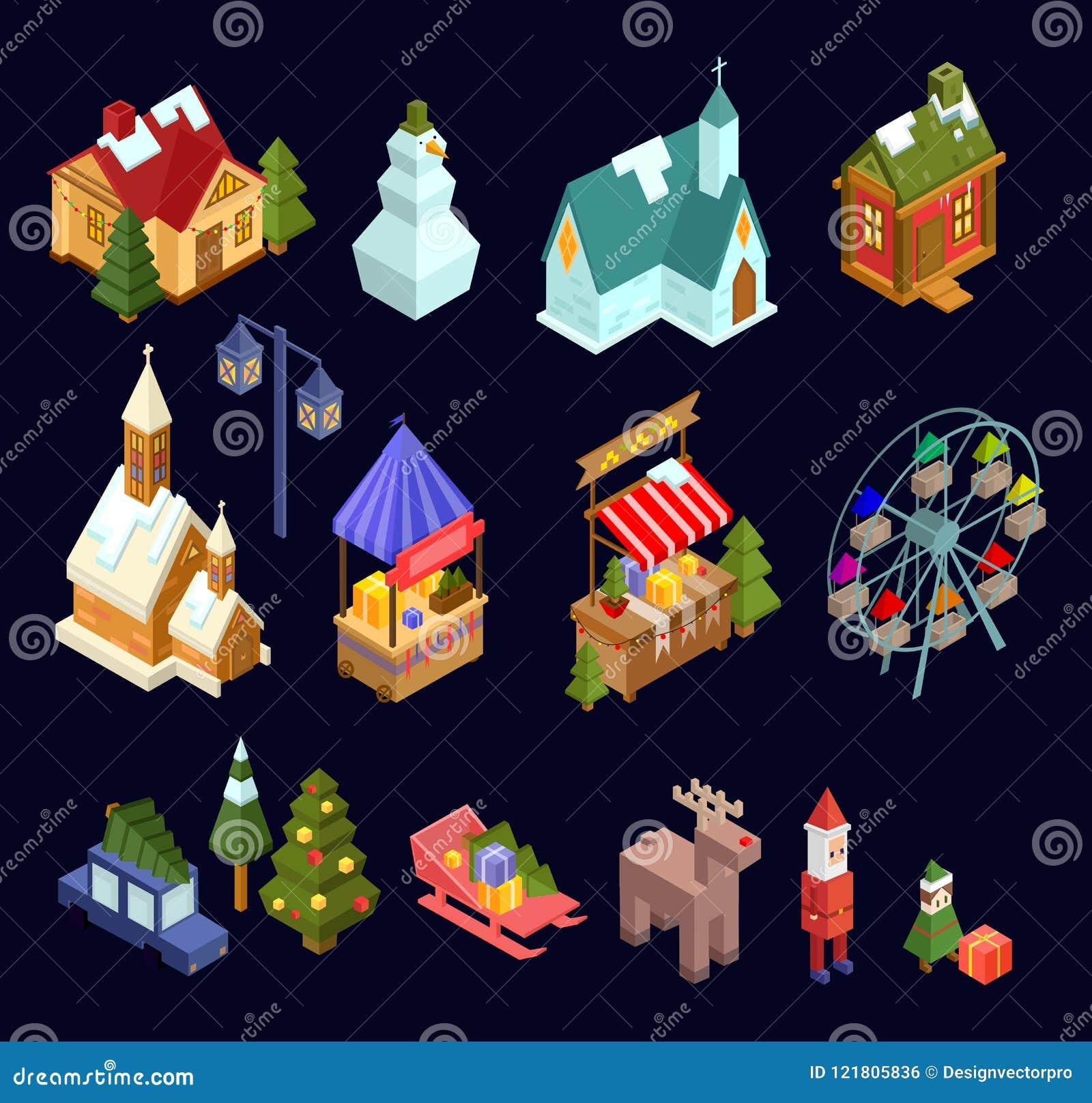Marché de Noël et ensemble isométrique de ville d isolement sur le Ba de bleu marine