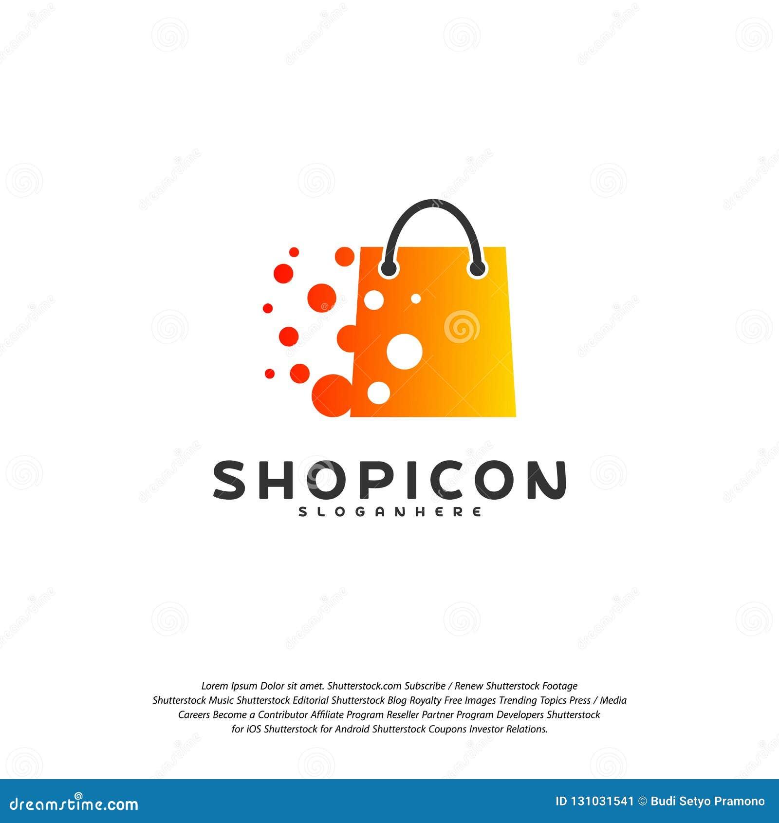 Marché en ligne Logo Template Design Vector, magasin Logo Design Element de magasin de magasin de pixel