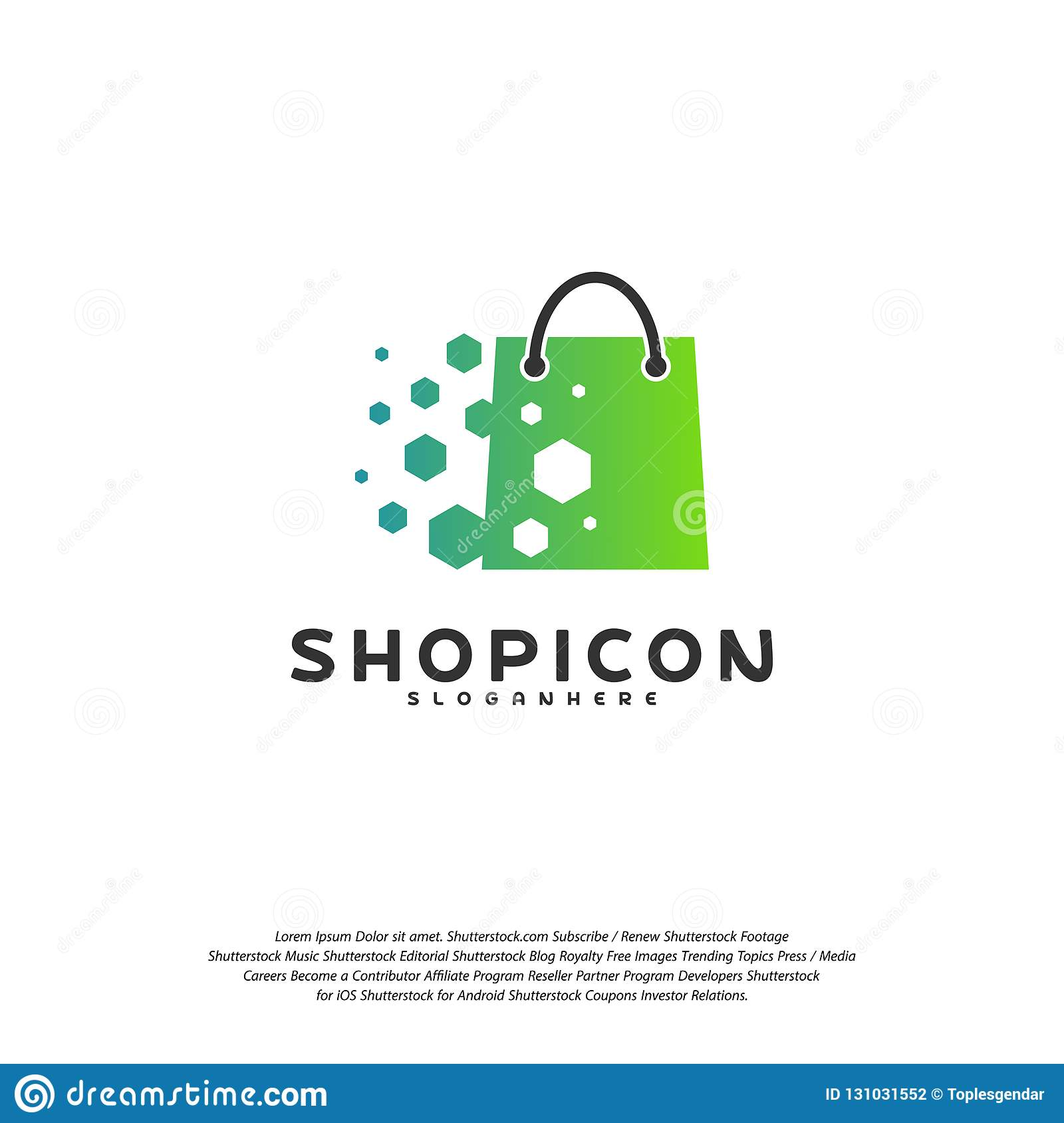 Marché en ligne Logo Template Design Vector, magasin Logo Design Element de magasin de magasin de pixel