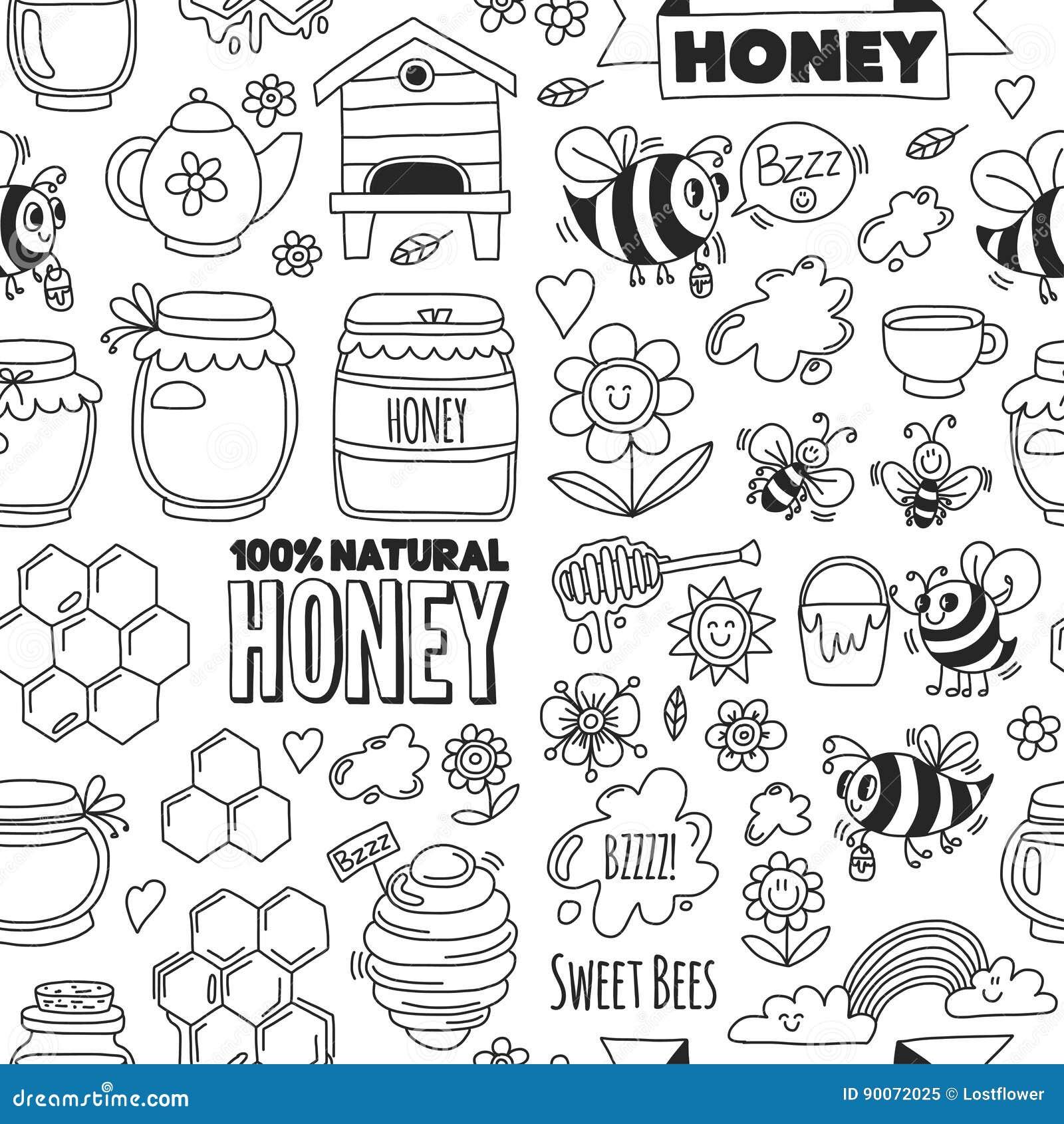 Marché sans couture de miel de modèle, bazar, images justes de griffonnage de miel des abeilles, fleurs, pots, nid d abeilles, ru