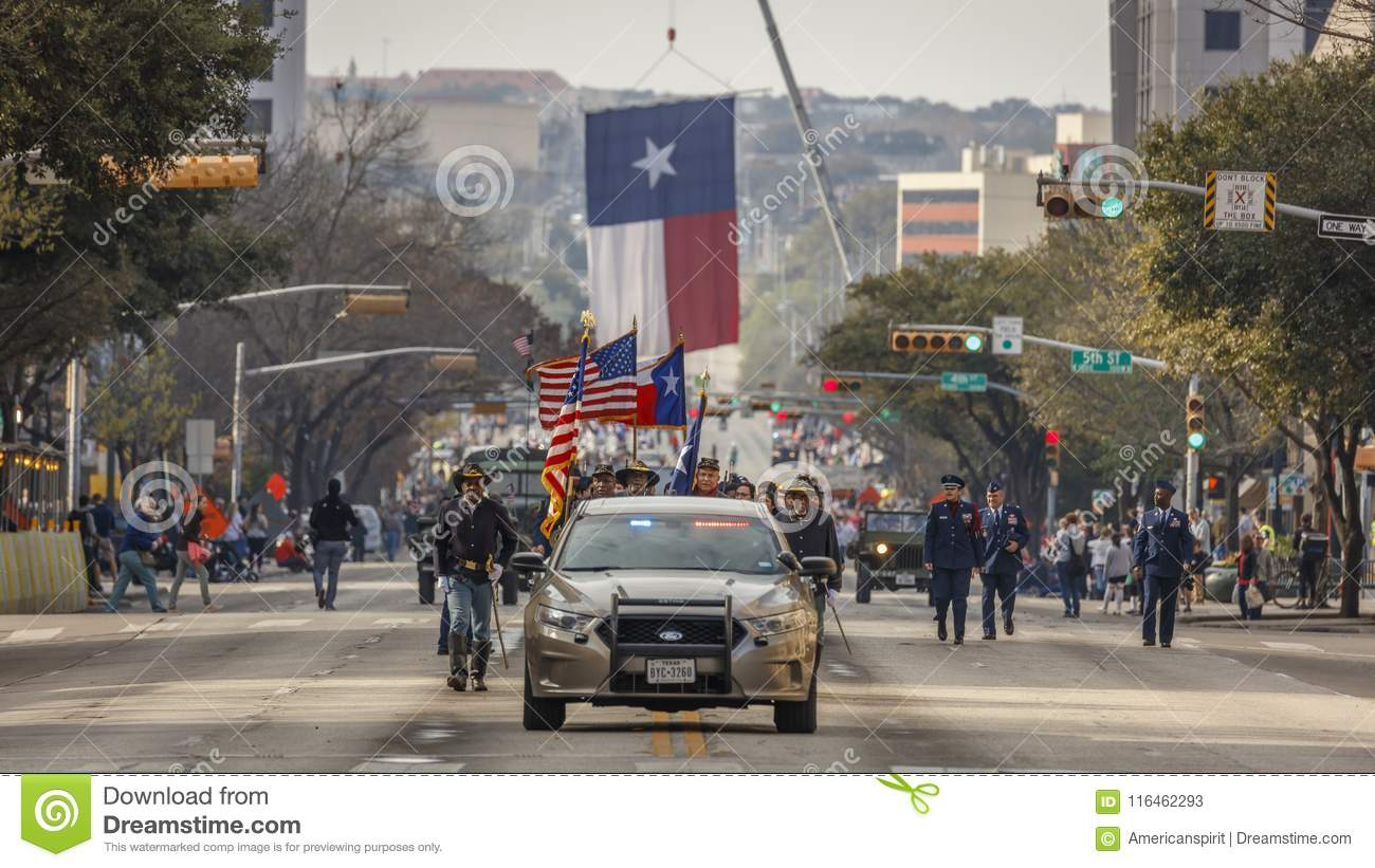 MARCH 3, 2018 - AUSTIN TEXAS -Giant Texas flag over Congress Avenue for the annual Texas. Lone, State