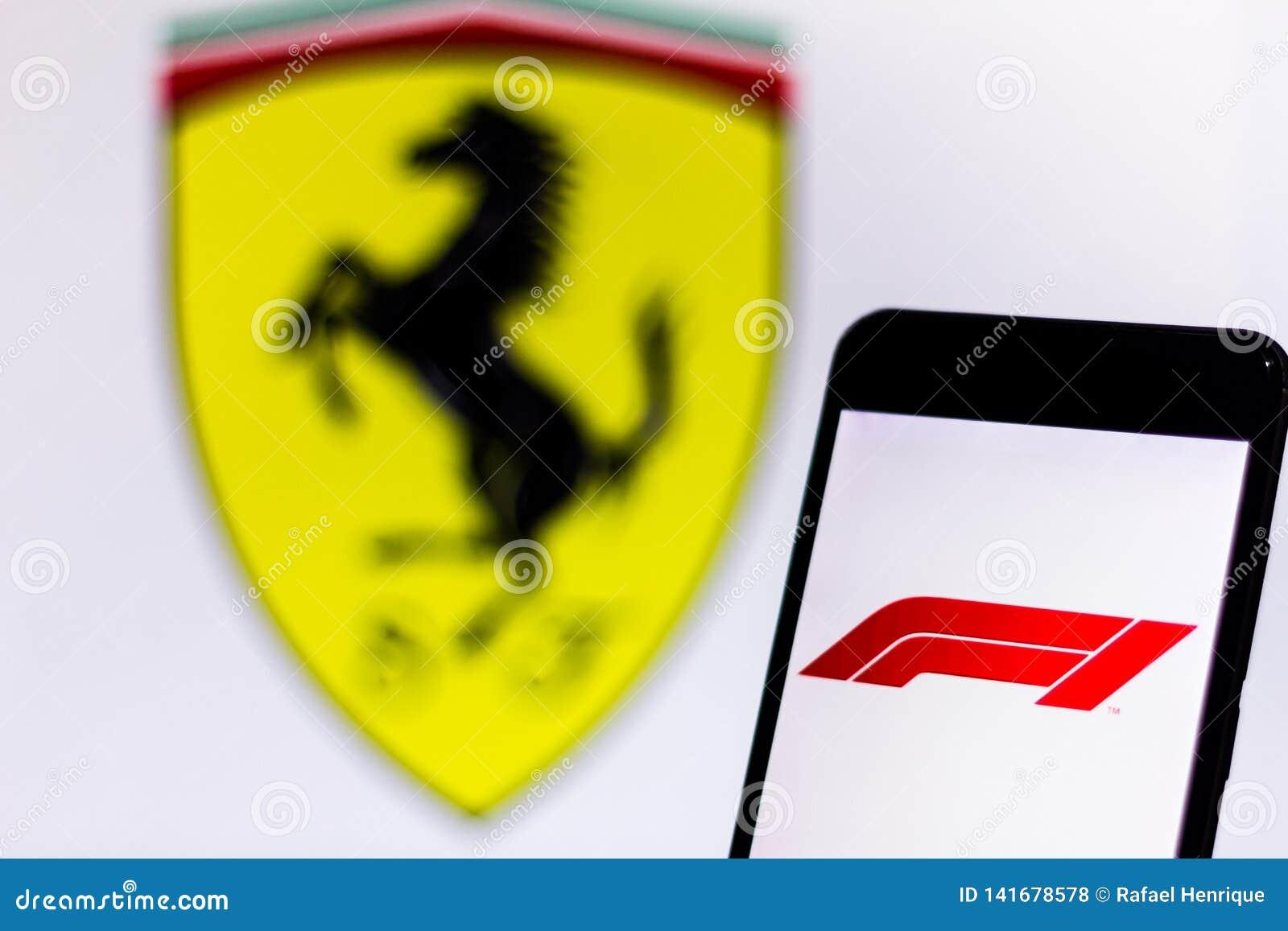 Official F1 Fia Formula 1 Logo On The Mobile Device Screen Logo Of The Scuderia Ferrari Mission Winnow Team In The Background Editorial Stock Photo Image Of Ferrari Logo 141678578