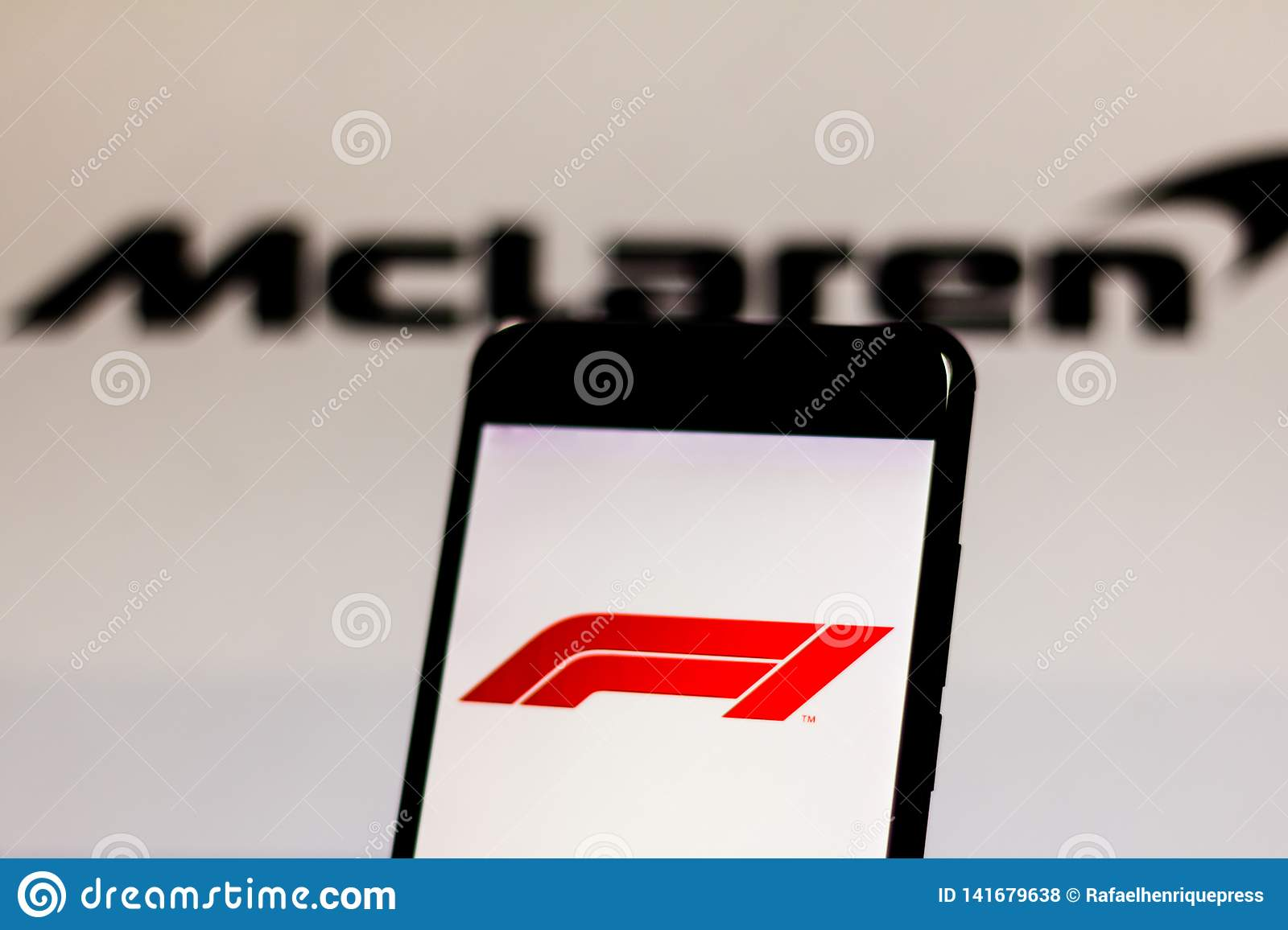 Official F1 FIA Formula 1 Logo On The Mobile Device Screen  Team