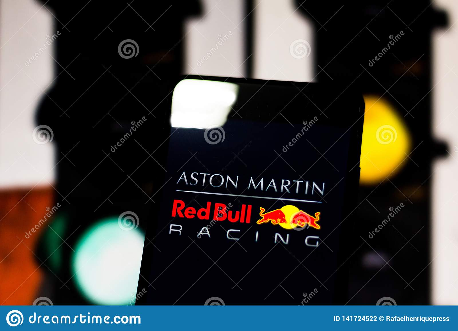 Team Logo Aston Martin Red Bull Racing Formula 1 On The Screen Of The Mobile Device Editorial Photography Image Of March Championship 141724522