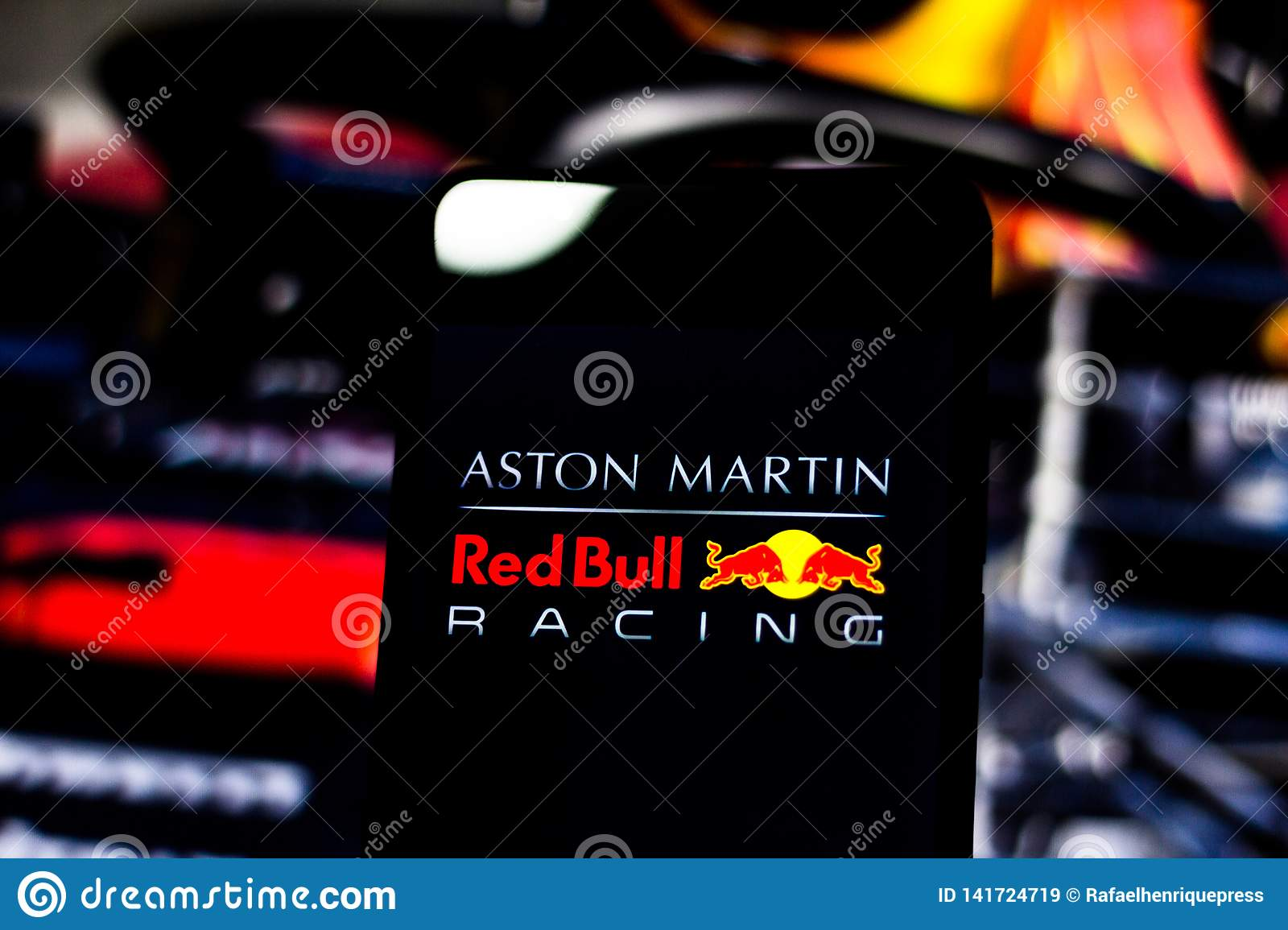 Team Logo Aston Martin Red Bull Racing Formula 1 On The Screen Of The Mobile Device Editorial Stock Image Image Of Cellular Drive 141724719